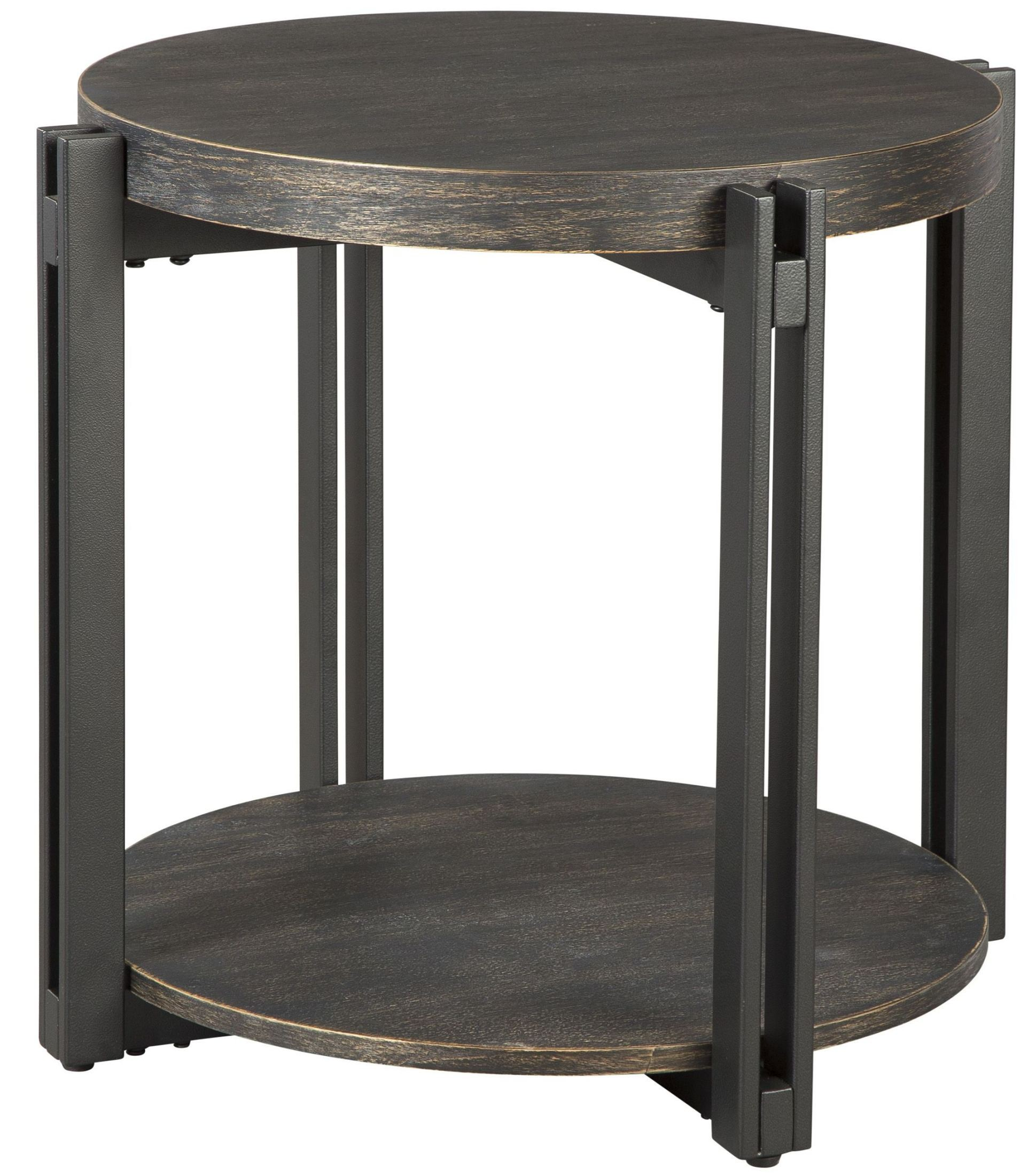 Winnieconi black round end table t857 6 ashley for Black round end table