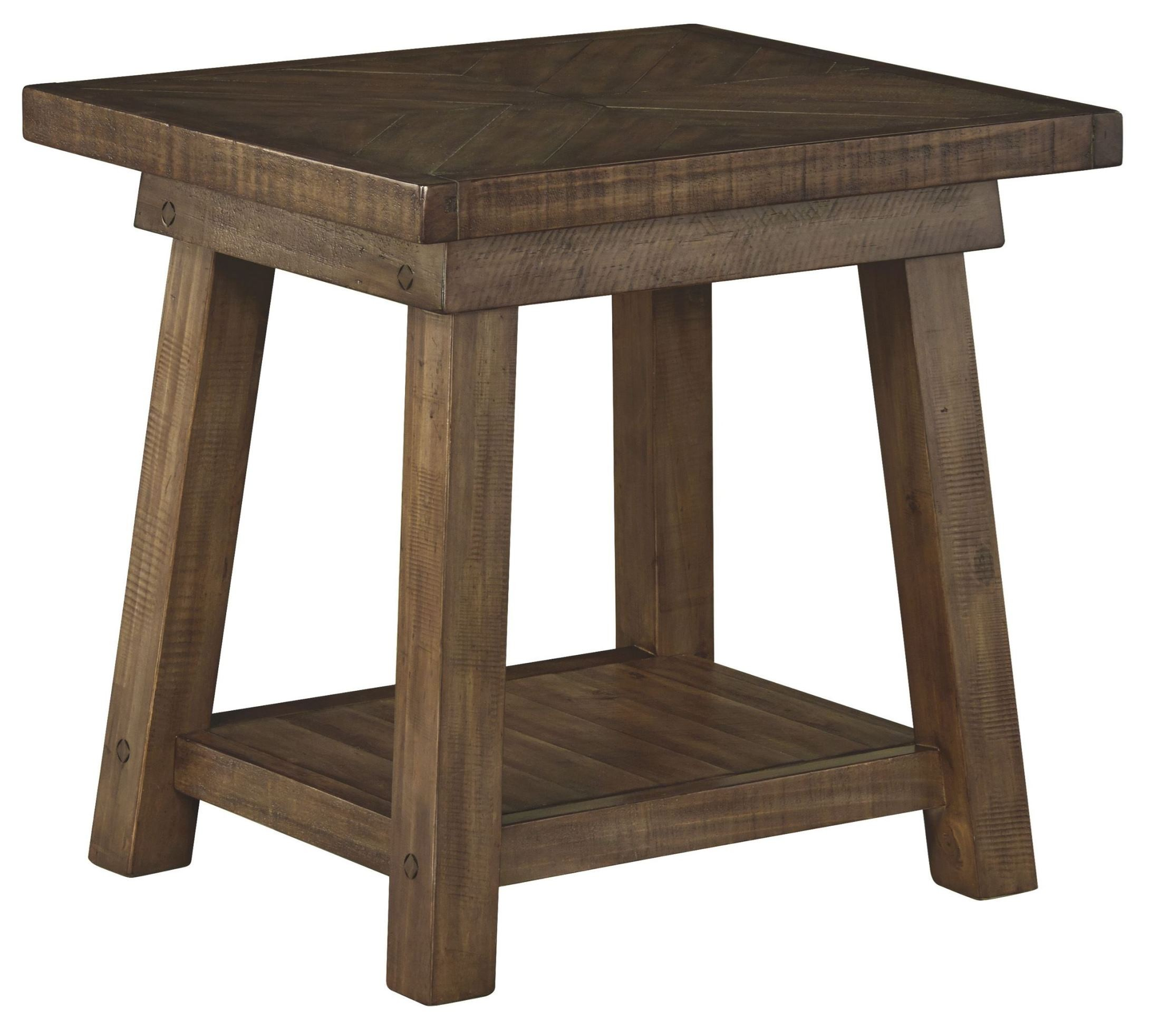 Dondie rustic brown rectangular end table t ashley