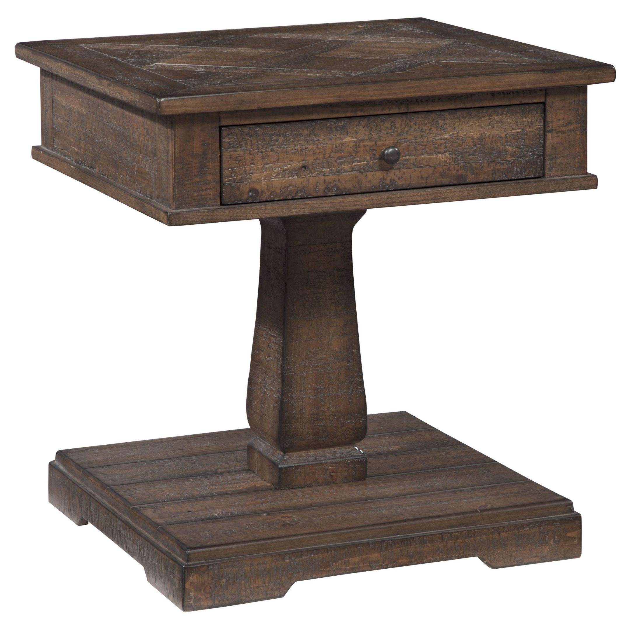 Zalarah rustic brown square end table from ashley t