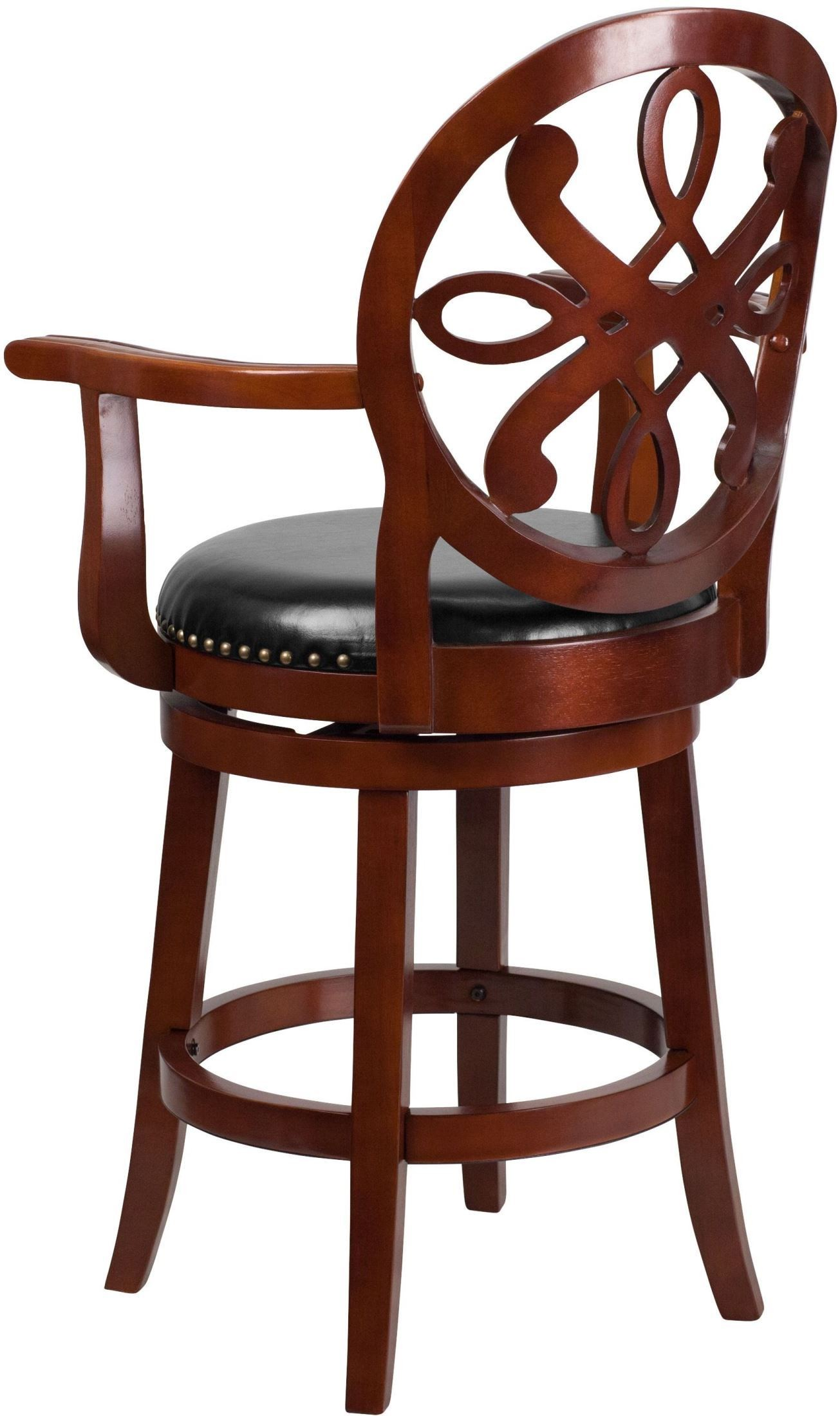 26 Quot Black Swivel High Cherry Wood Counter Stool With Arms