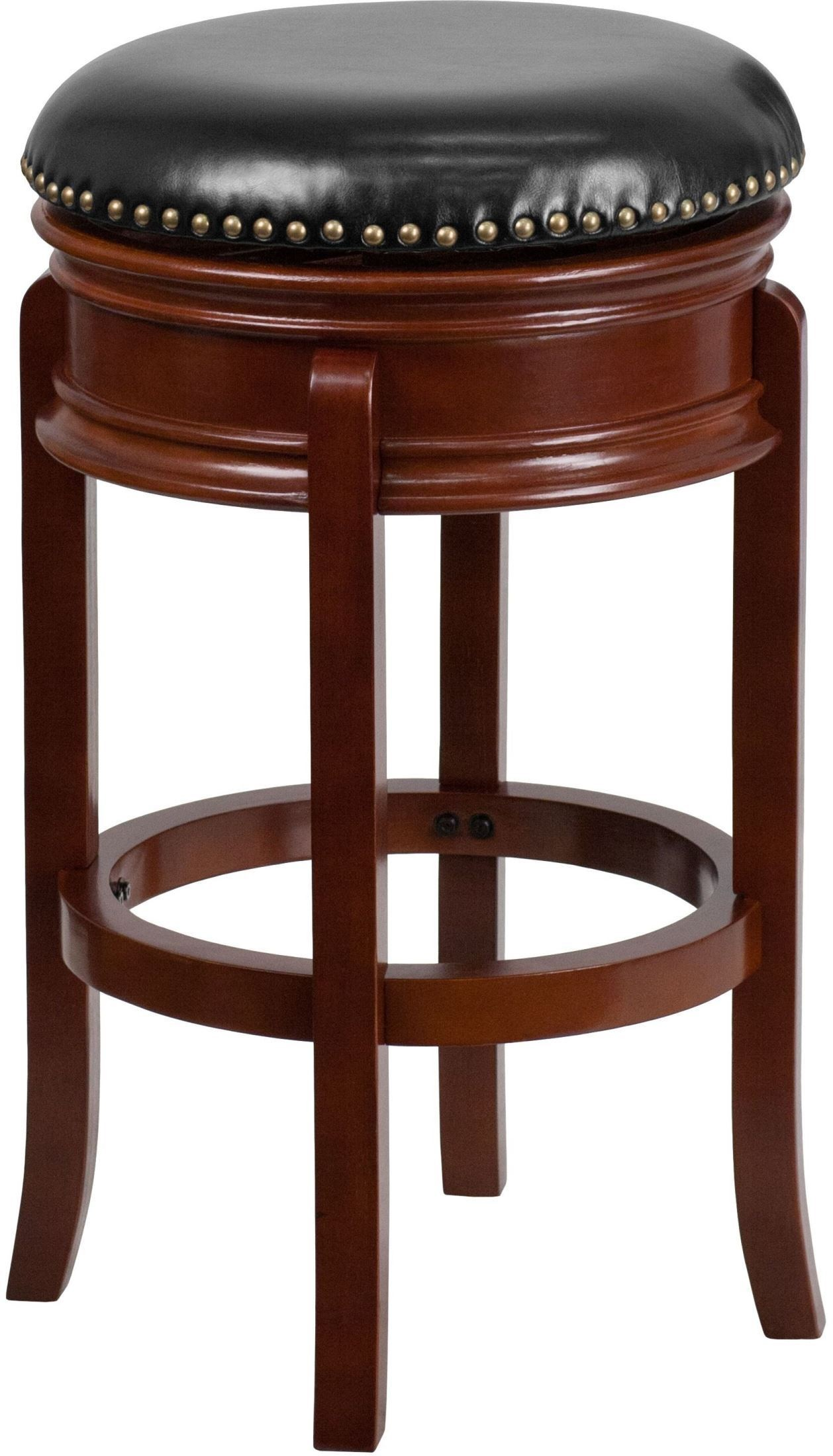 29 transitional black swivel backless light cherry wood barstool ta 68829 lc gg renegade. Black Bedroom Furniture Sets. Home Design Ideas