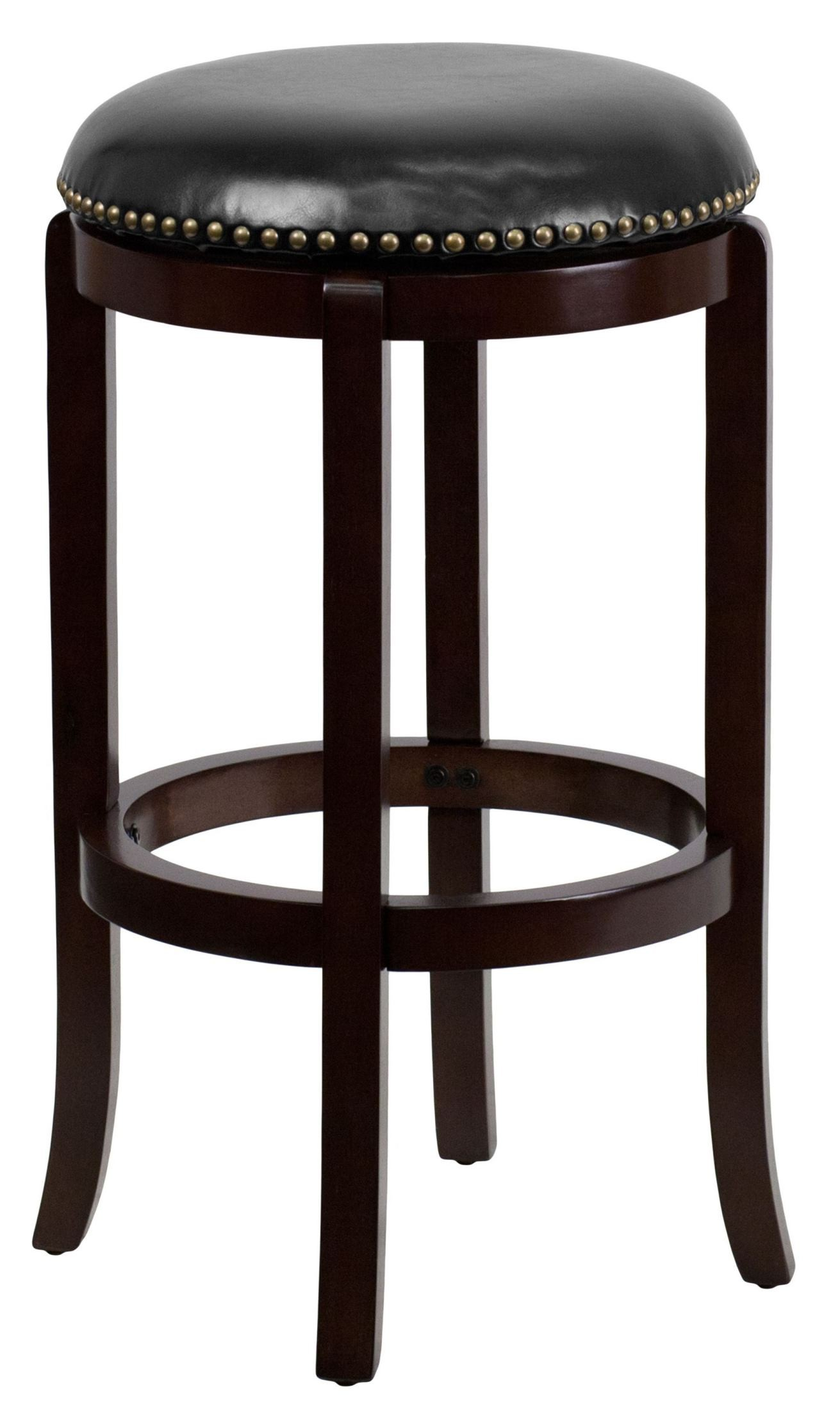 29 backless cappuccino wood black leather swivel bar stool from renegade ta 68929 ca gg. Black Bedroom Furniture Sets. Home Design Ideas
