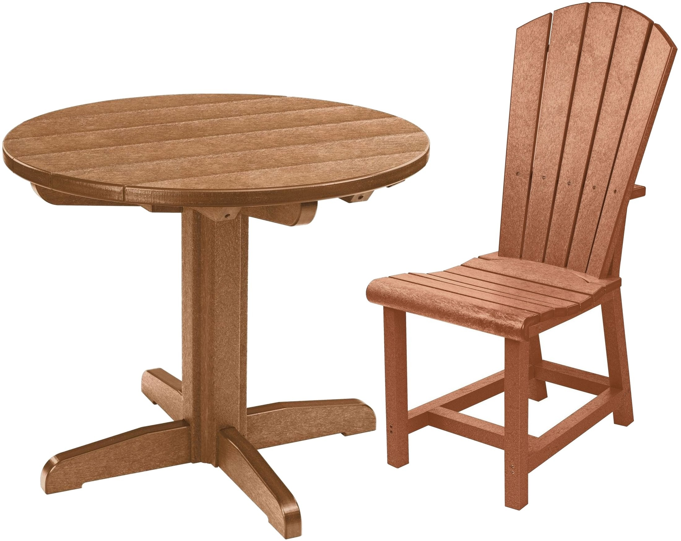 generations cedar round pedestal dining room set