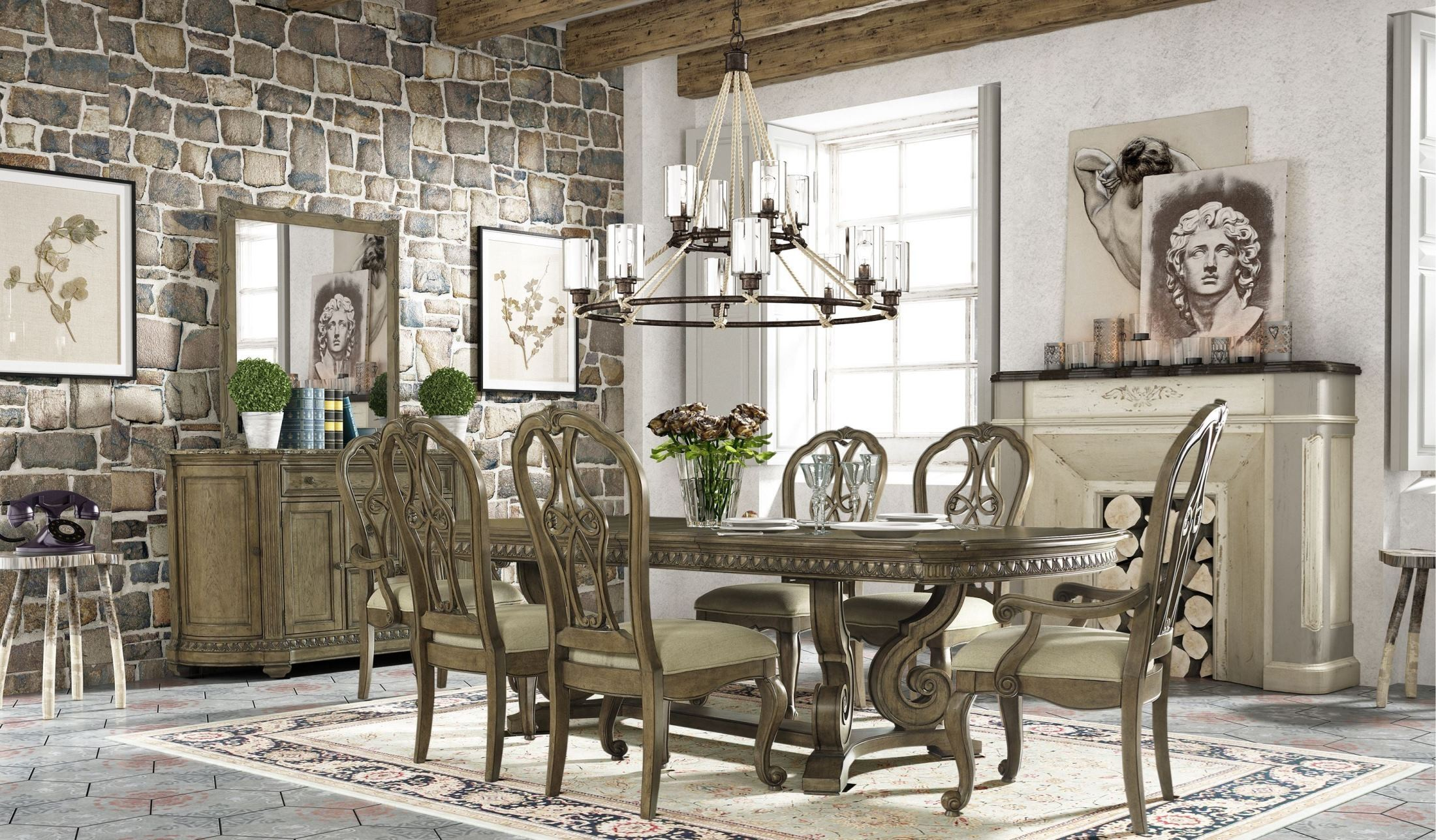 Touraine French Glazed Pecan Extendable Dining Room Set S4154 04 Fairmont D