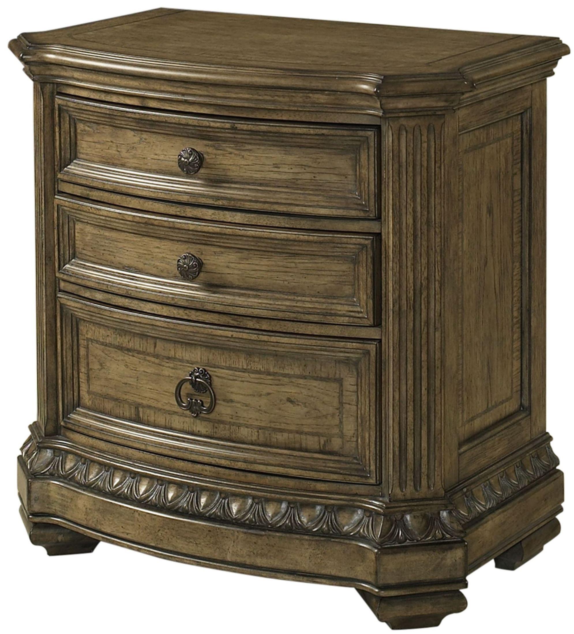 Touraine French Glazed Pecan Sleigh Bedroom Set S7154 63 64 58 Fairmont Designs