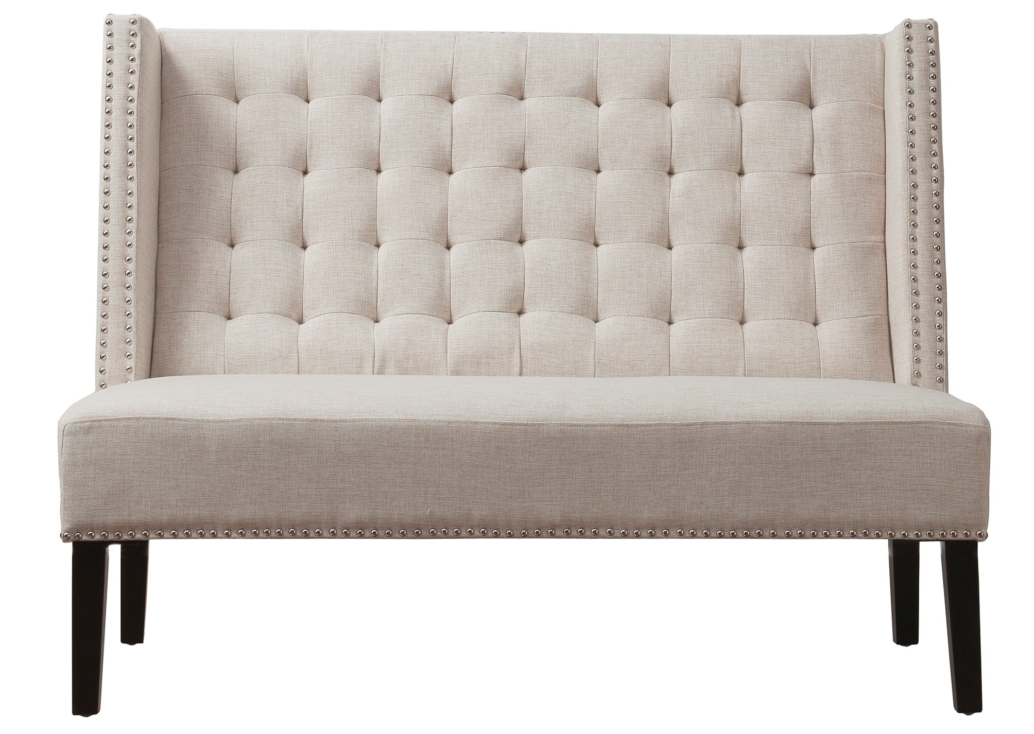 Halifax beige linen banquette bench from tov tov 63114 Banquette bench