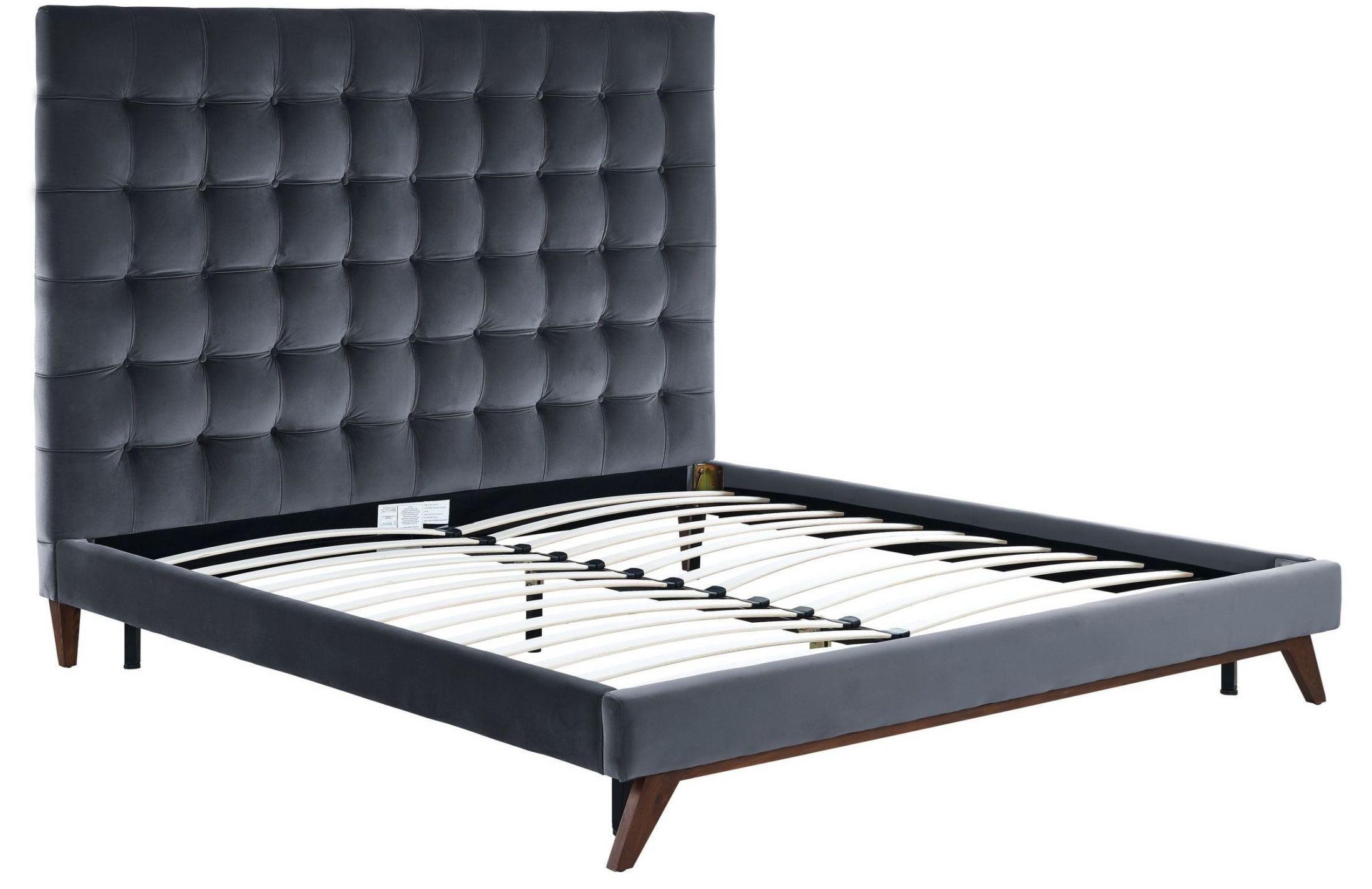 Tov Furniture Eden Grey Velvet Bed In Queen