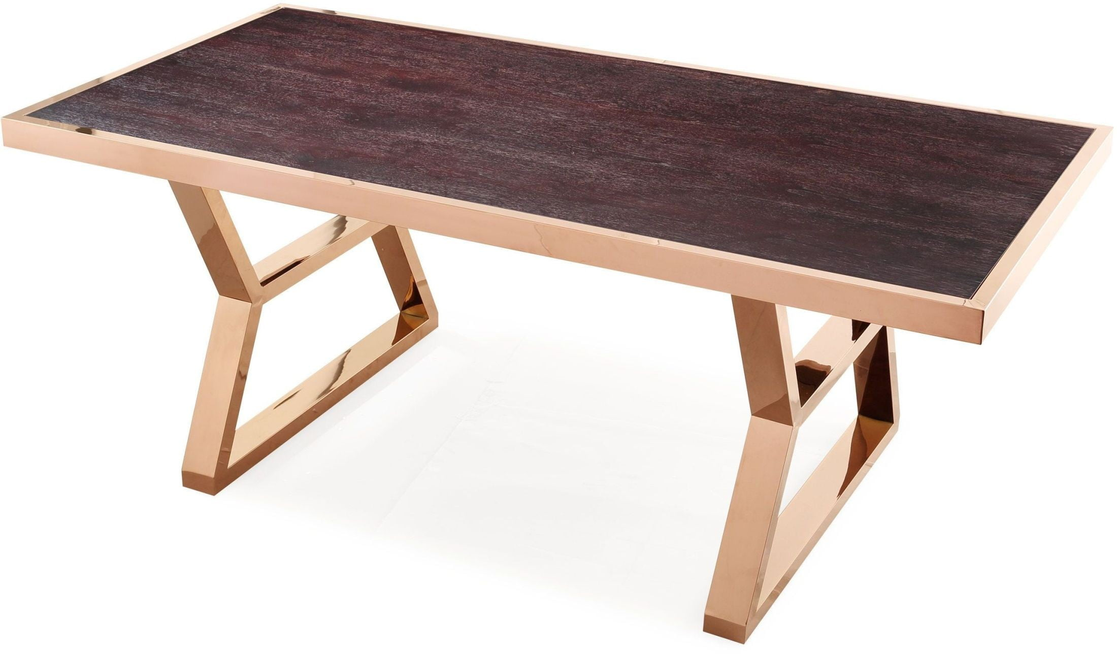 Gold Dining Tables ~ Tula wood gold metal dining table d tov furniture