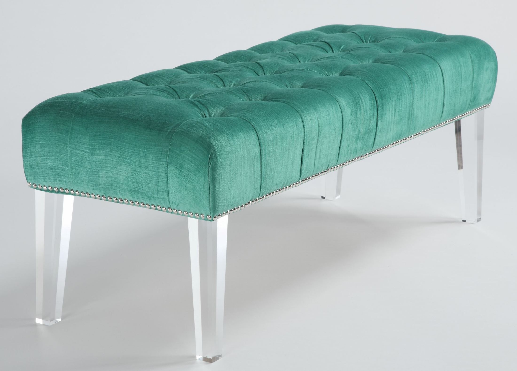 Stella Turquoise Velvet Acrylic Bench From Tov O20 Coleman Furniture