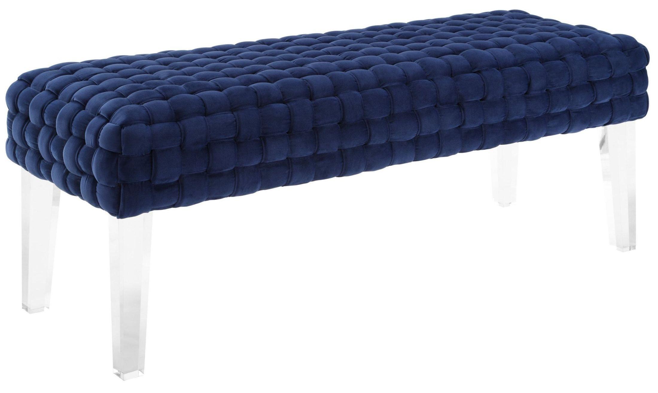 Sal Woven Navy Velvet Bench O56 Tov Furniture