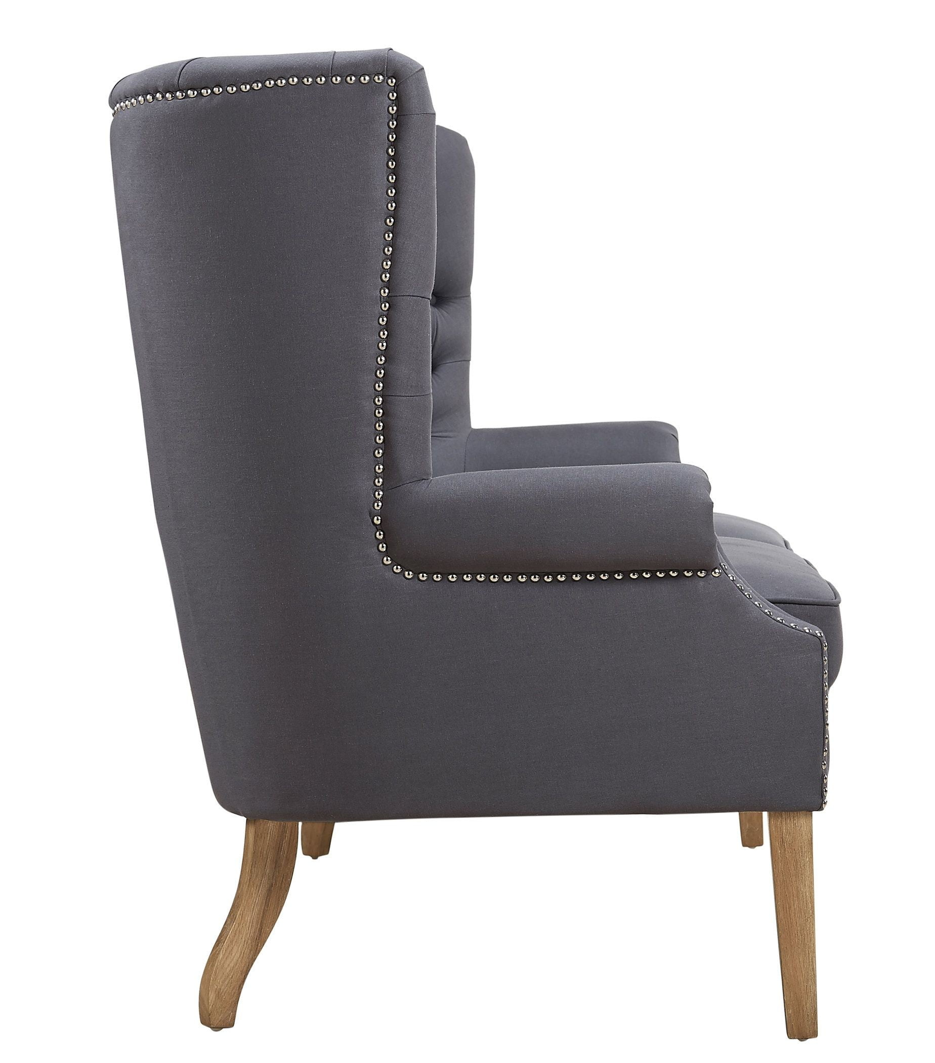 Abe Grey Linen Wing Loveseat From Tov Tov S2063
