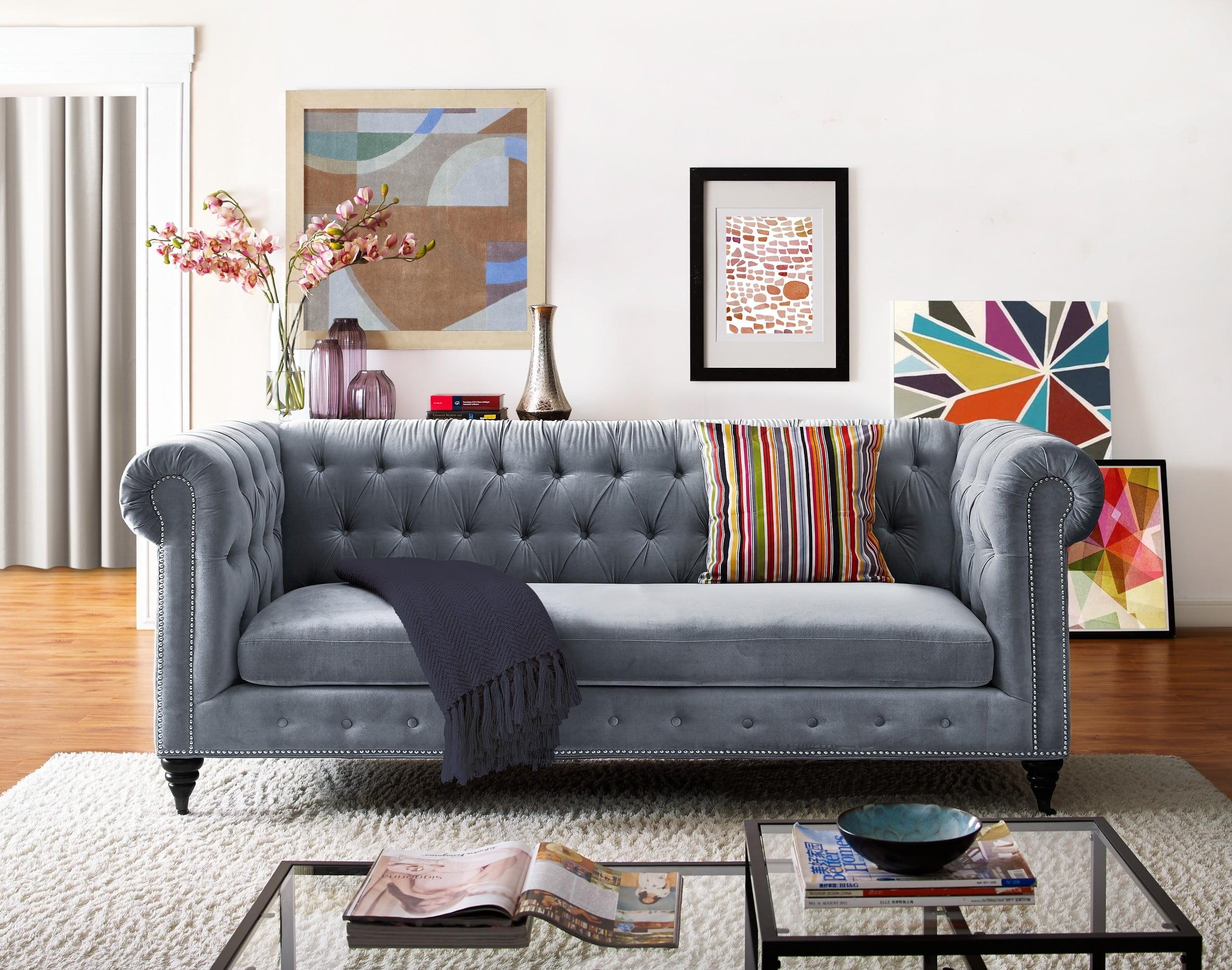 hanny grey velvet sofa from tov s48 coleman furniture. Black Bedroom Furniture Sets. Home Design Ideas