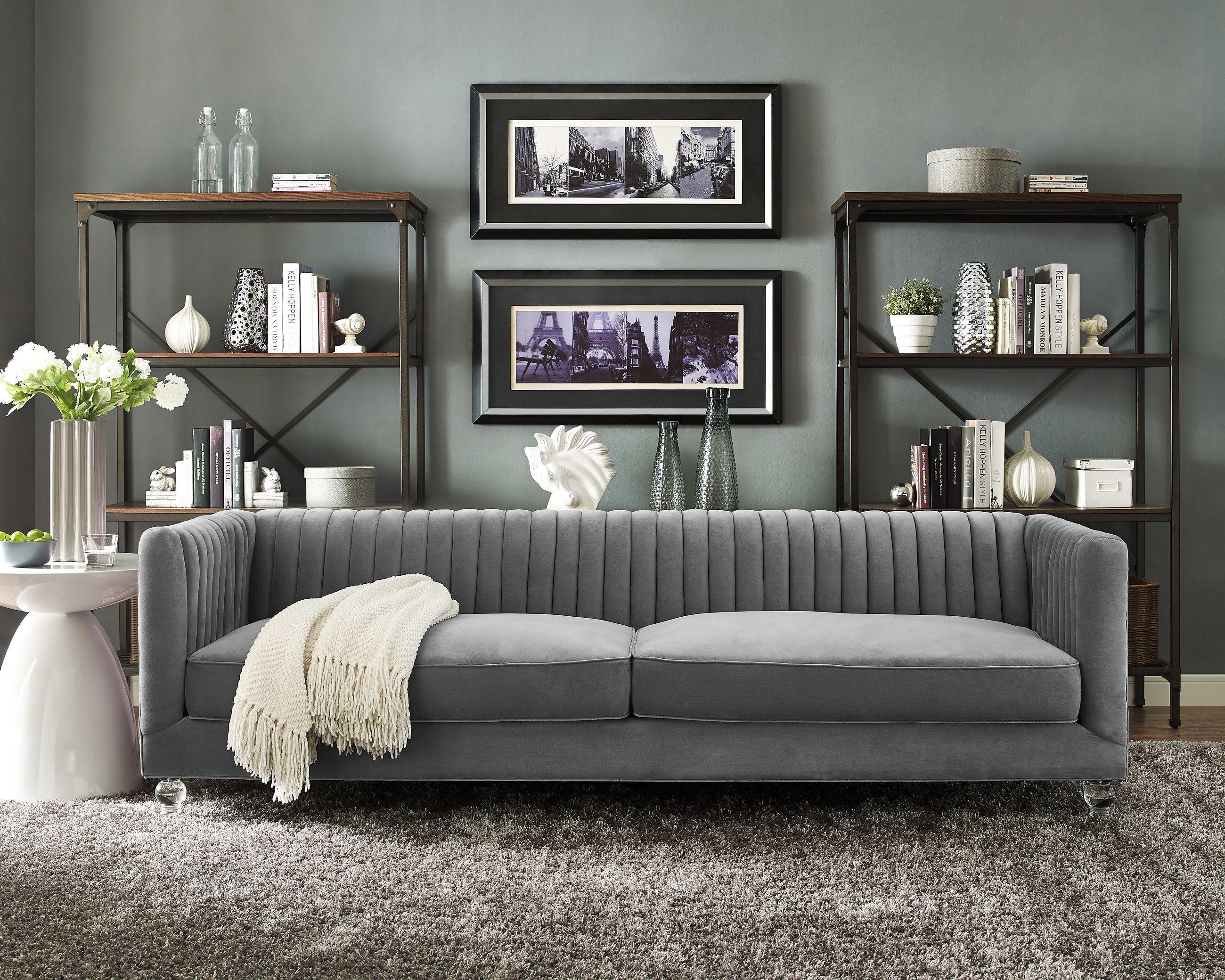 aviator grey velvet sofa from tov tov s86 coleman. Black Bedroom Furniture Sets. Home Design Ideas