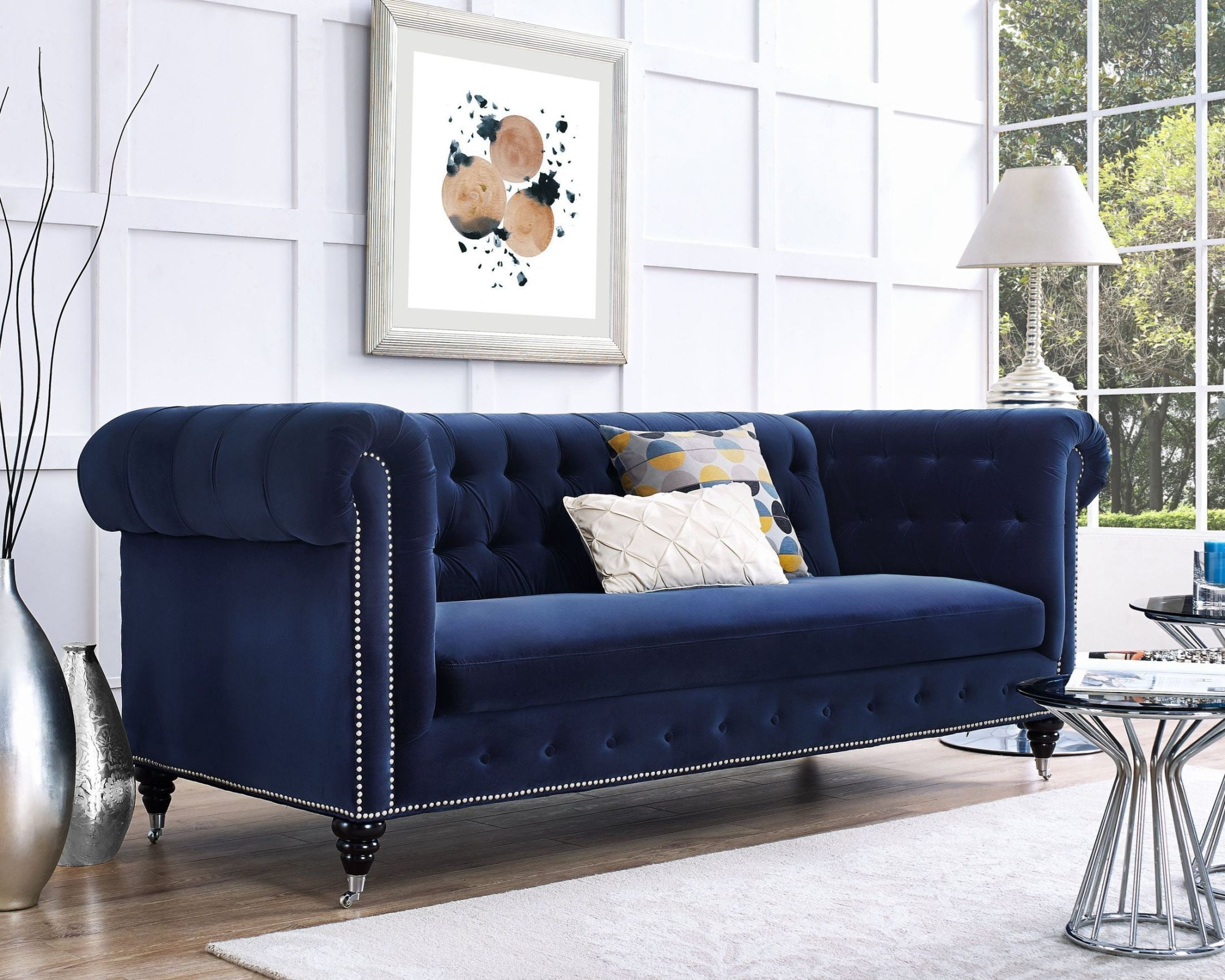 Hanny Navy Blue Velvet Sofa S99 Tov Furniture