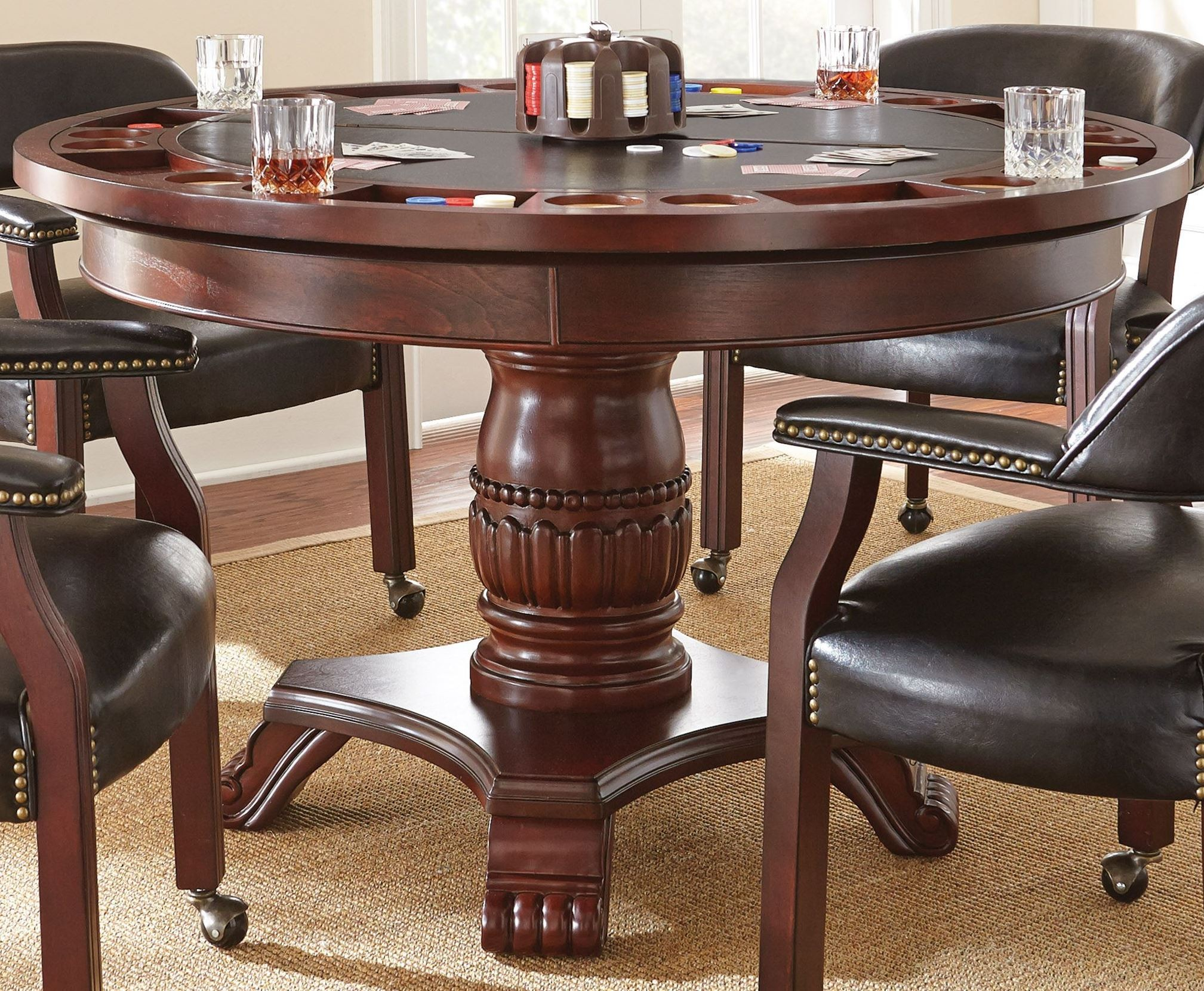 Tournament Black Round Folding Game Table From Steve