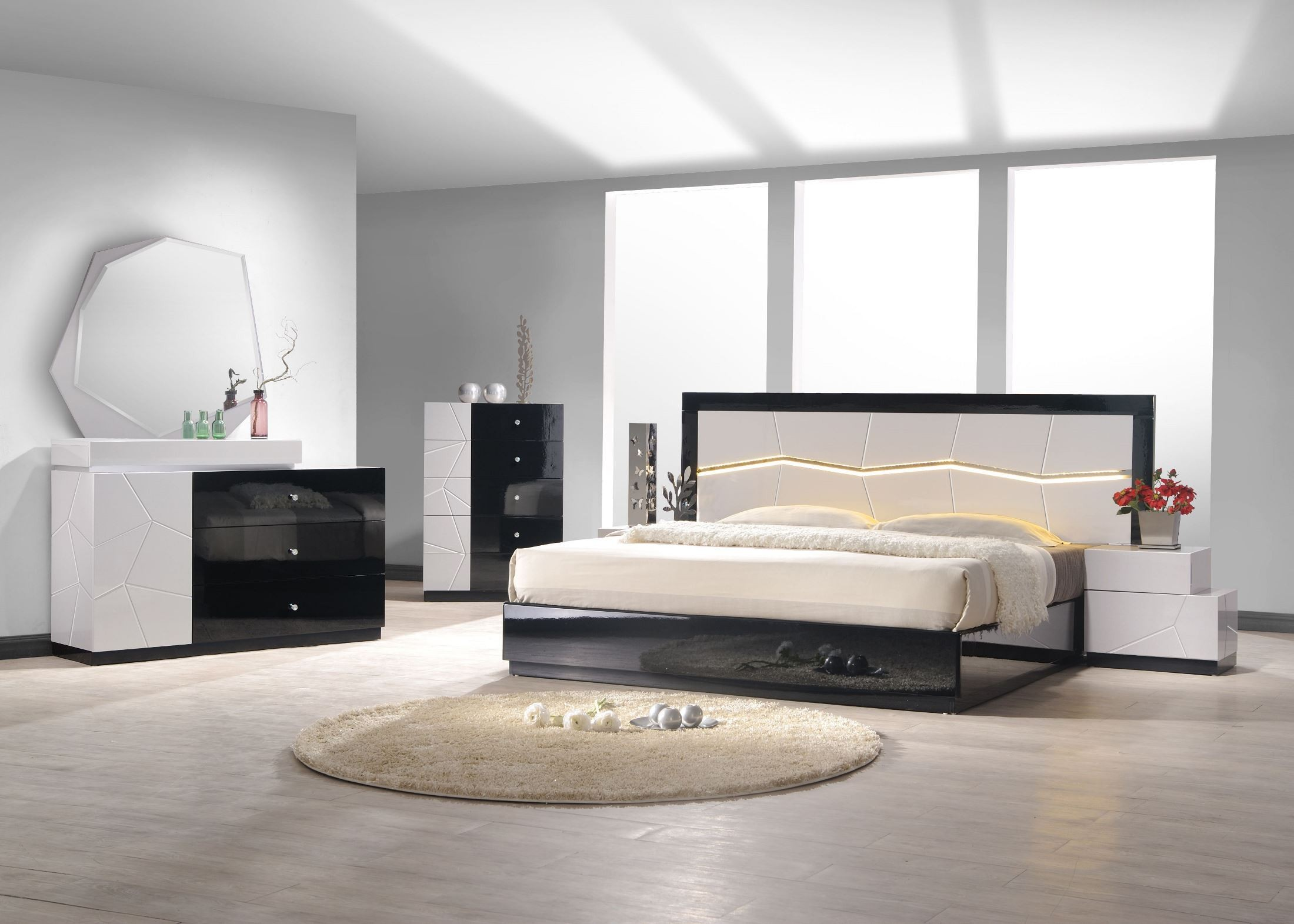turin light grey and black lacquer platform bedroom set