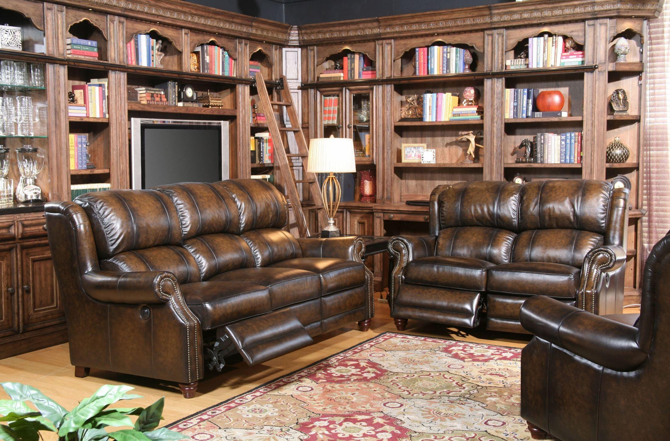 Twain Black Brown Dual Power Reclining Living Room Set