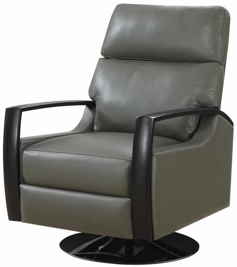 cosmopolitan gray leather swivel recliner u1209 04 33