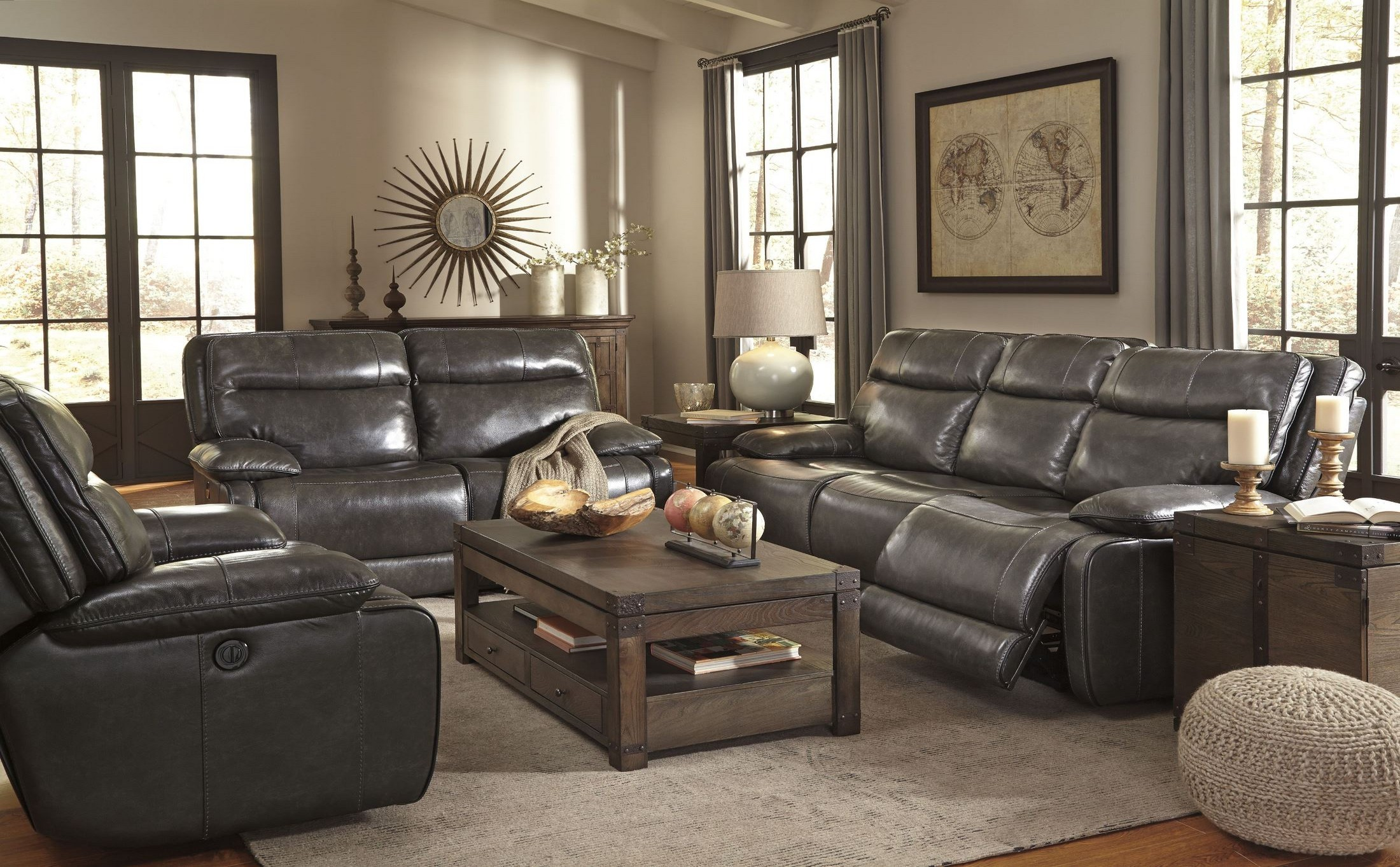 Palladum metal power reclining living room set from ashley for Living room of satoshi review
