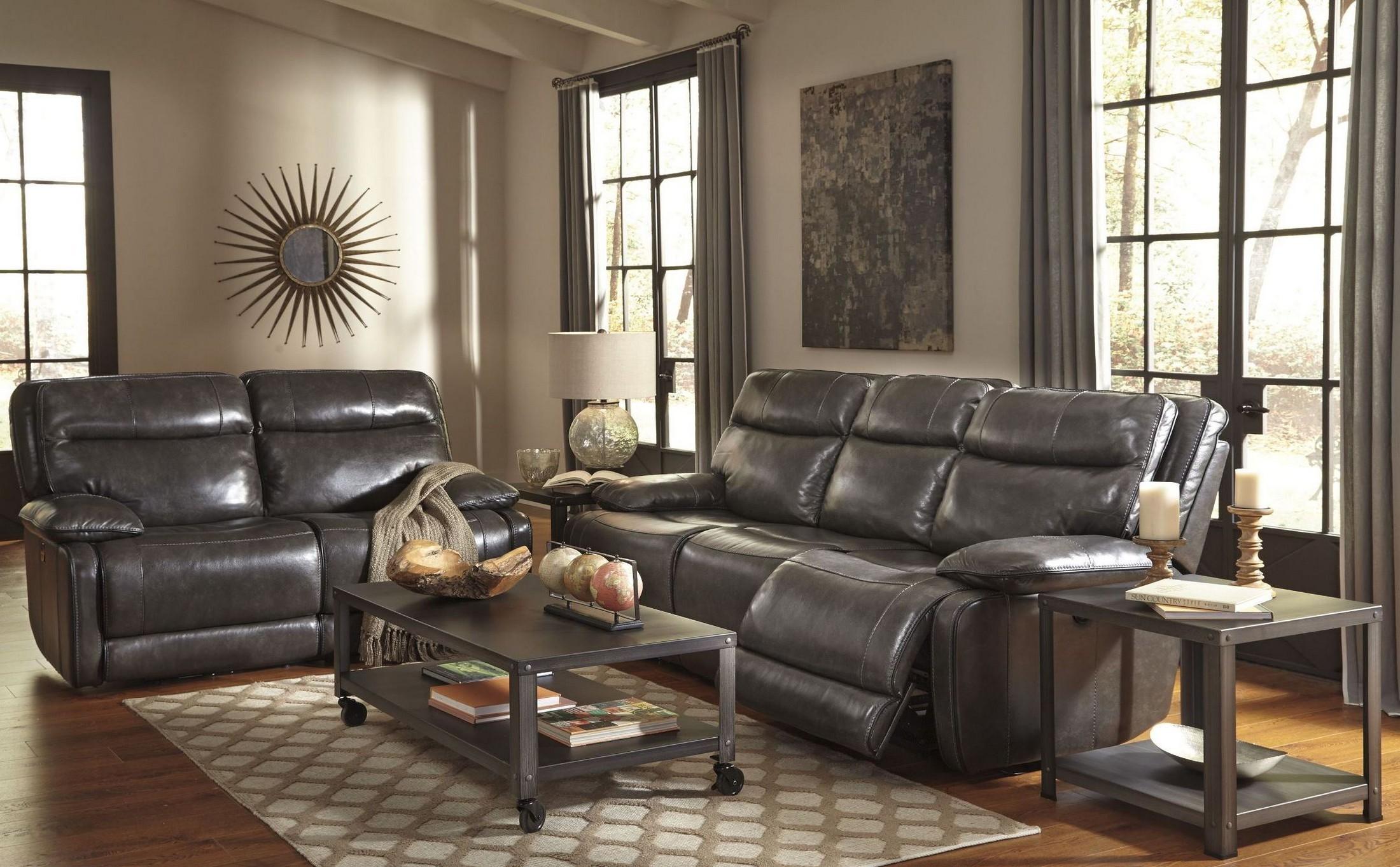 Palladum Metal Power Reclining Living Room Set From Ashley U7260187 Colem