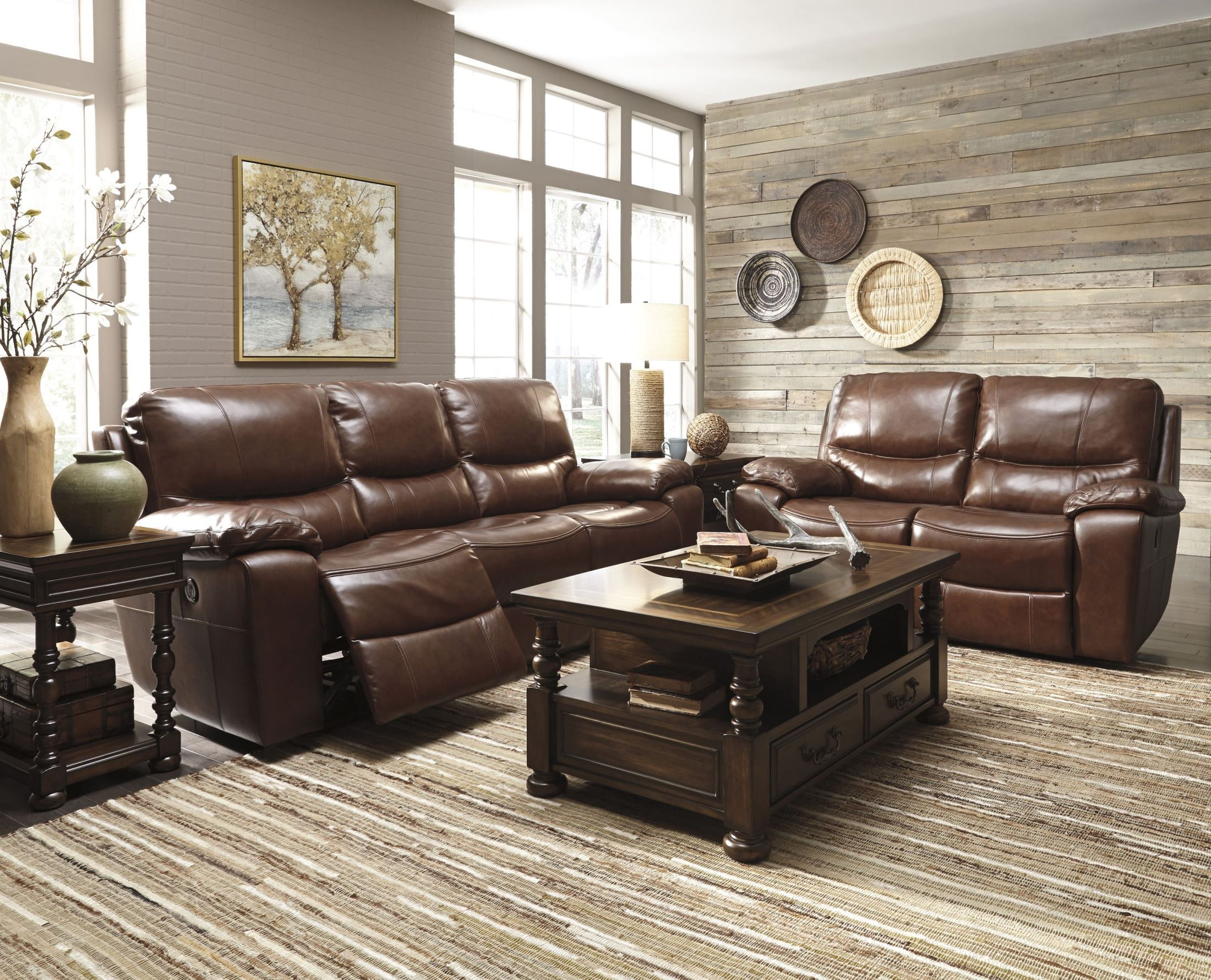 Penache saddle power reclining loveseat from ashley for Affordable furniture 3 piece sectional in wyoming saddle