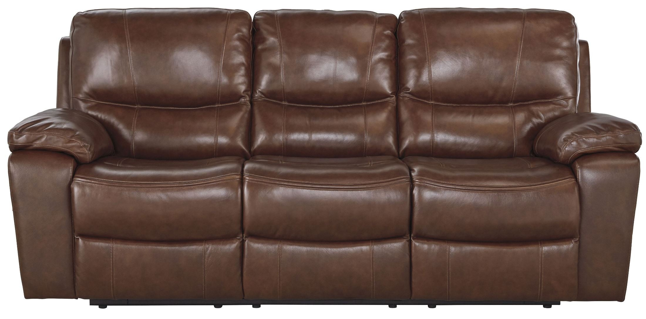 Penache saddle power reclining sofa from ashley u7290087 for Affordable furniture 3 piece sectional in wyoming saddle
