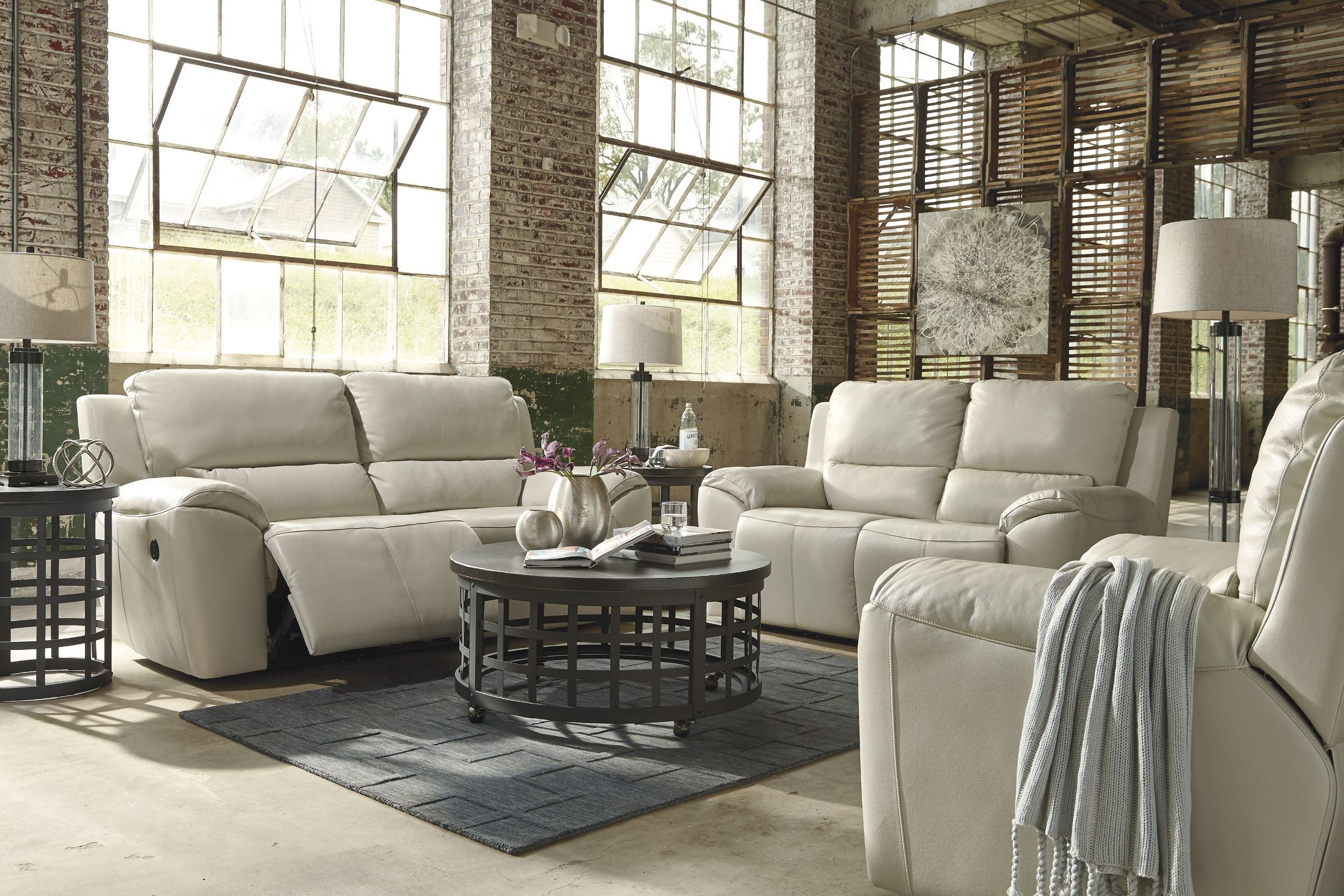 Valeton cream reclining living room set from ashley for Cream couch living room