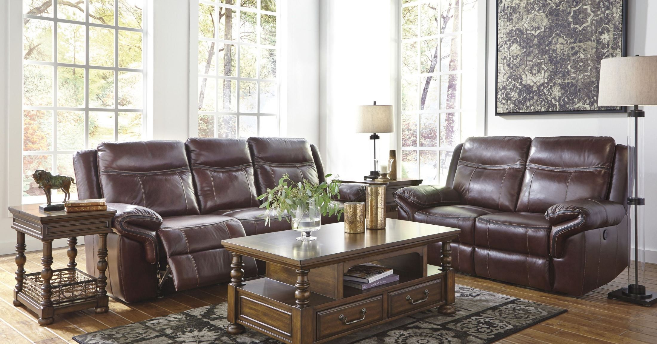 Zephen Mahogany Reclining Power Reclining Living Room Set From Ashley U74400