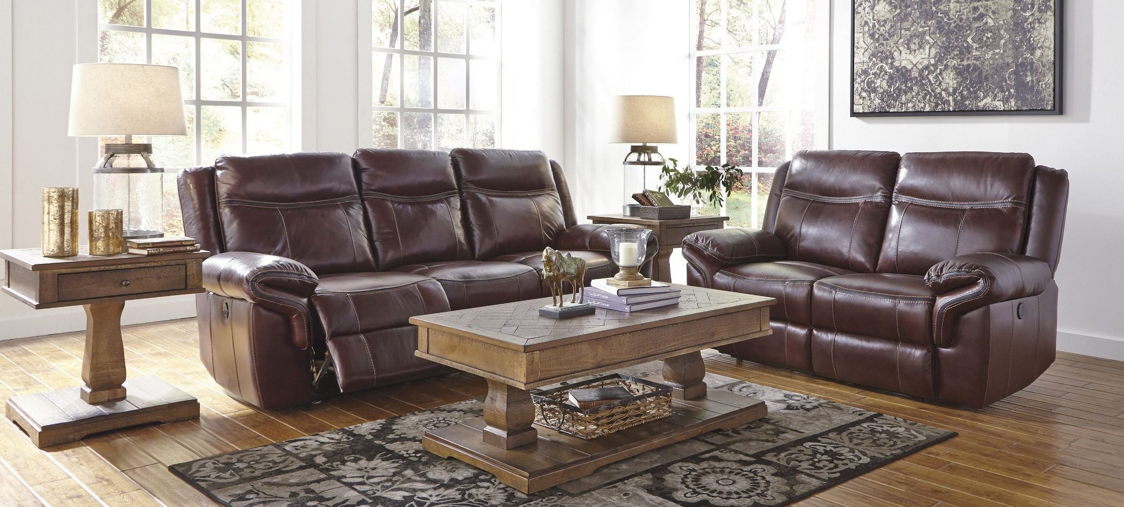 Zephen Mahogany Reclining Power Reclining Living Room Set From Ashley U7440087 Coleman Furniture