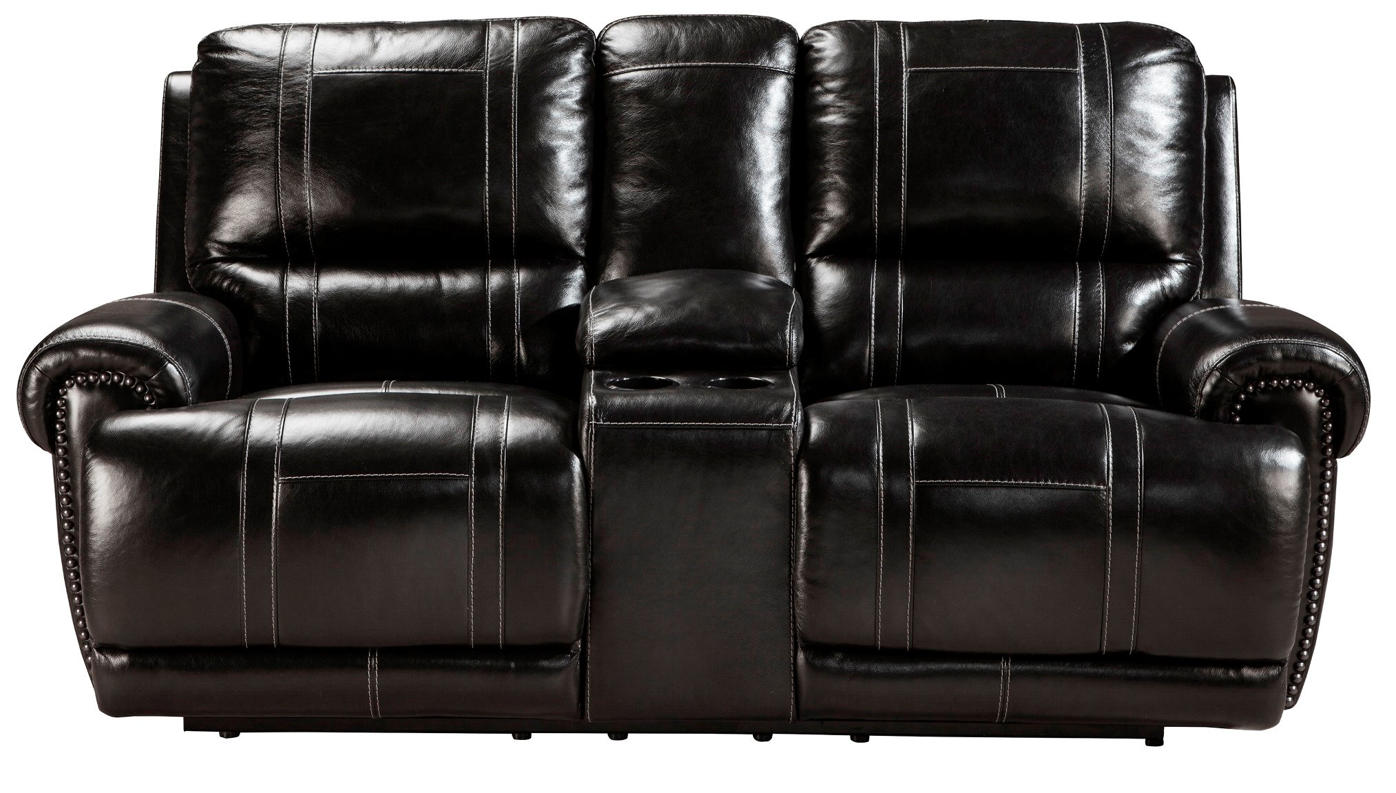 Paron Antique Double Power Reclining Loveseat With Console From Ashley U7590196 Coleman