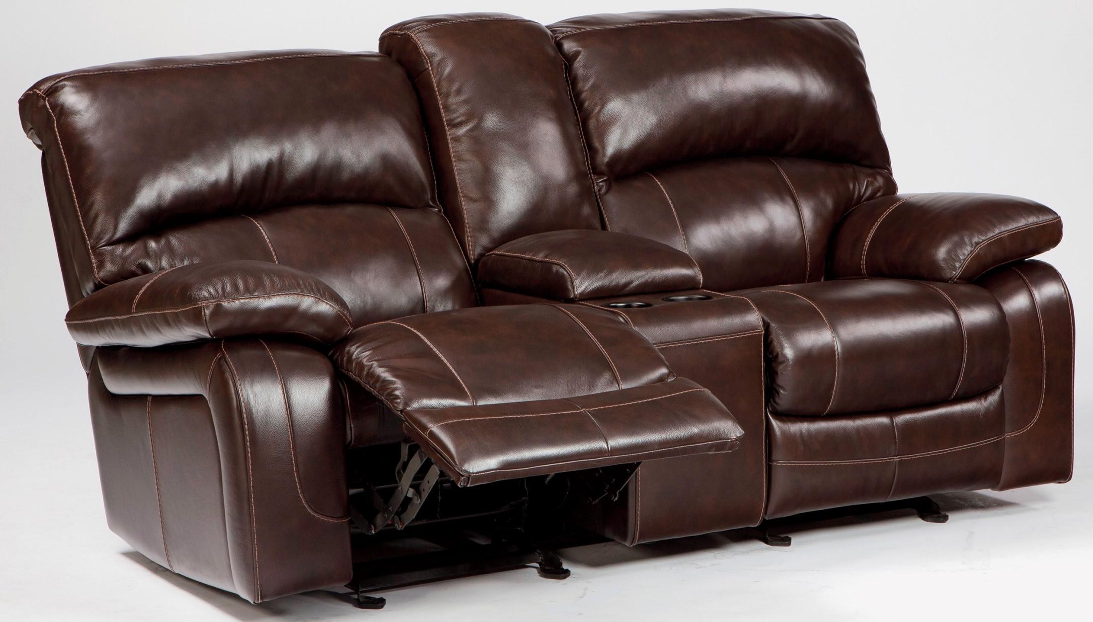 Damacio Dark Brown Glider Reclining Loveseat With Console From Ashley U9820043 Coleman Furniture
