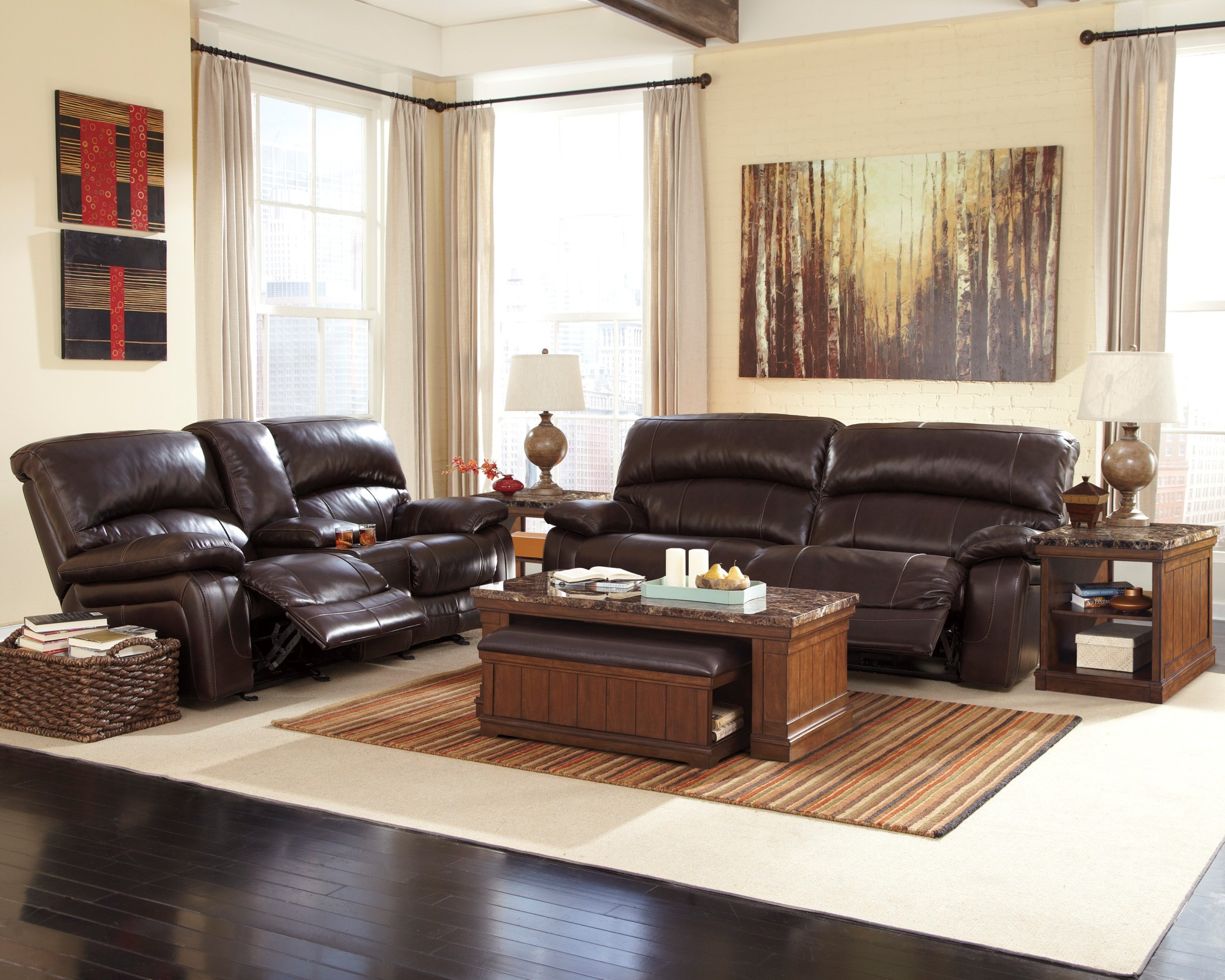 Damacio dark brown reclining living room set from ashley - Black and brown living room furniture ...