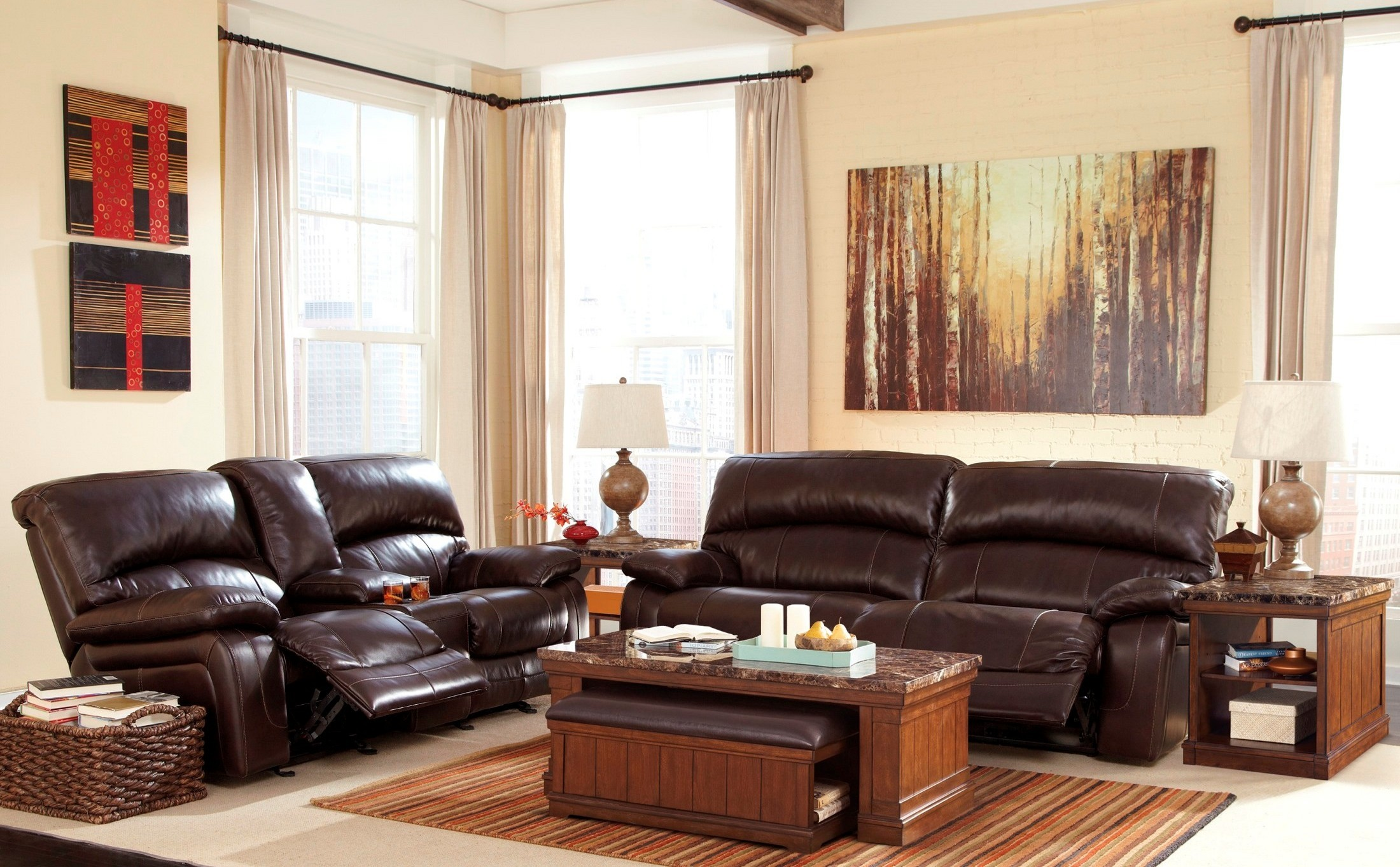 Damacio dark brown reclining living room set from ashley for Dark brown living room set