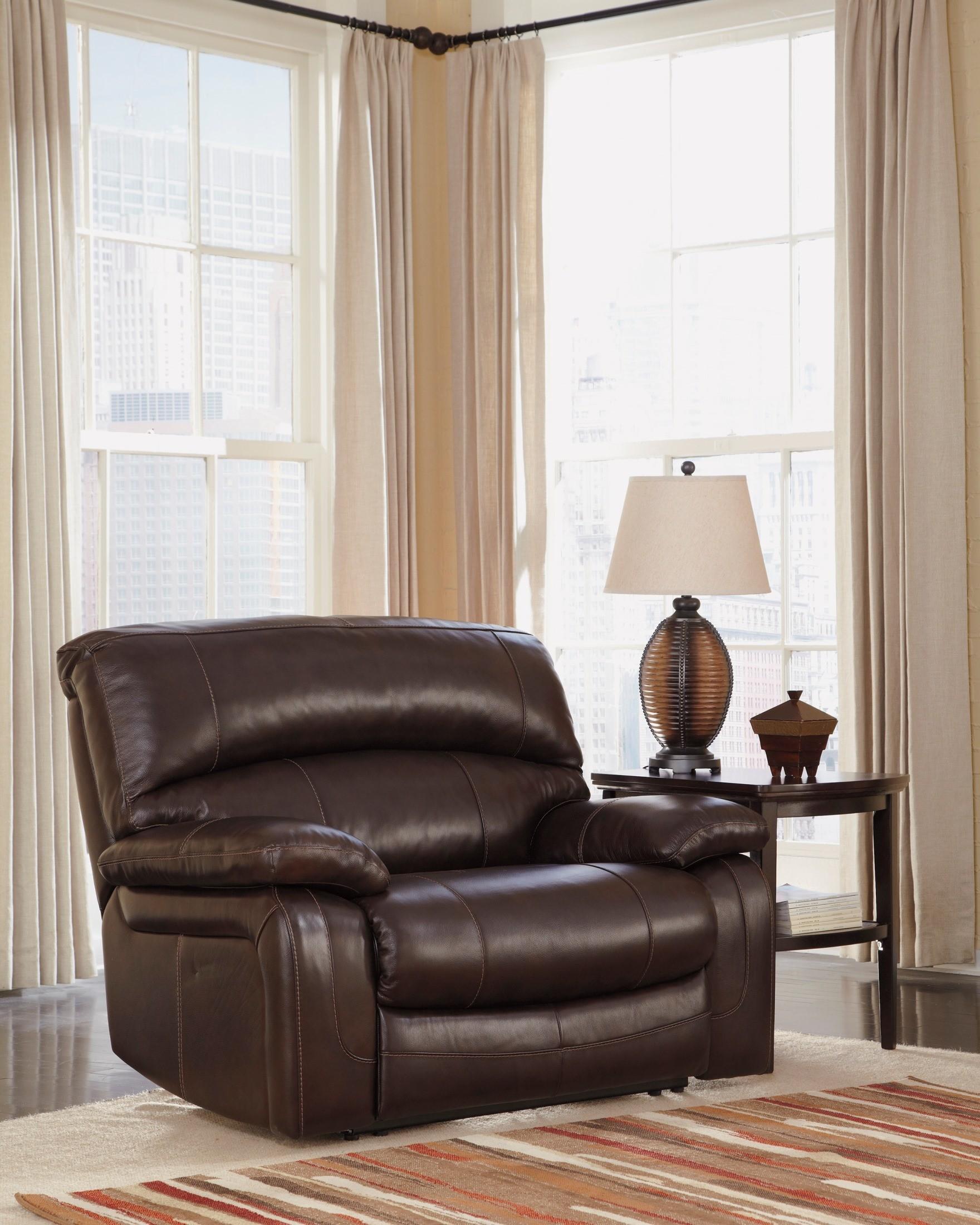 Damacio Dark Brown Zero Wall Power Wide Recliner From Ashley U9820082 Coleman Furniture