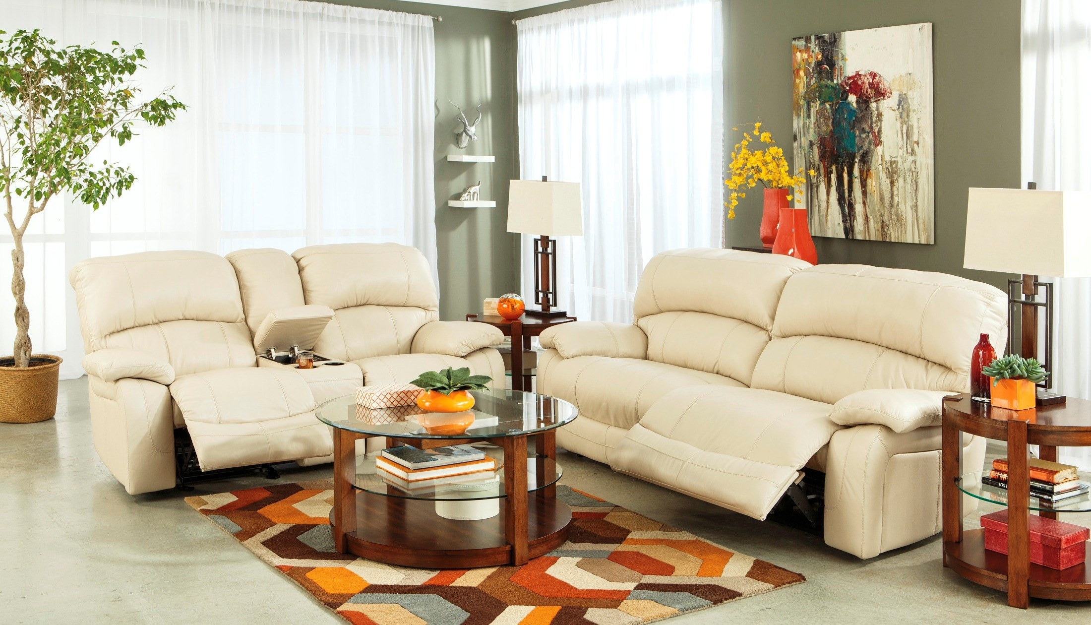 Damacio cream power reclining living room set from ashley for Cheap reclining living room sets