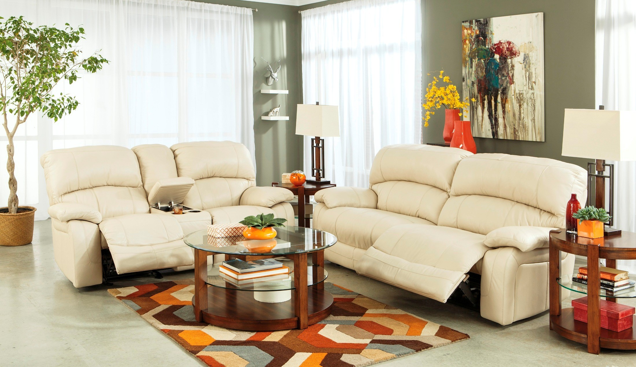 damacio cream reclining living room set from ashley u98201 81 43