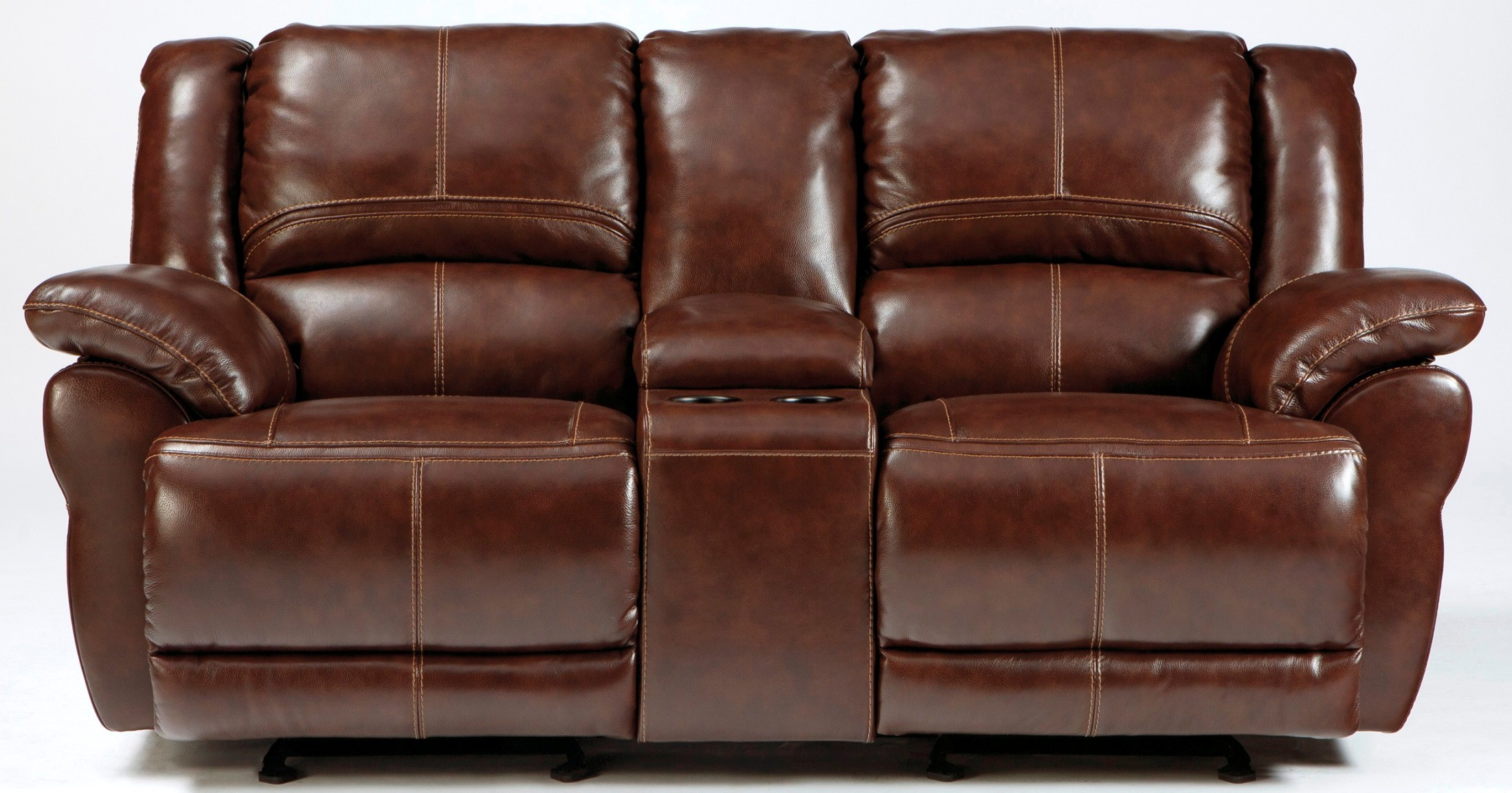 Lenoris Coffee Glider Reclining Loveseat With Console From Ashley U9890143 Coleman Furniture