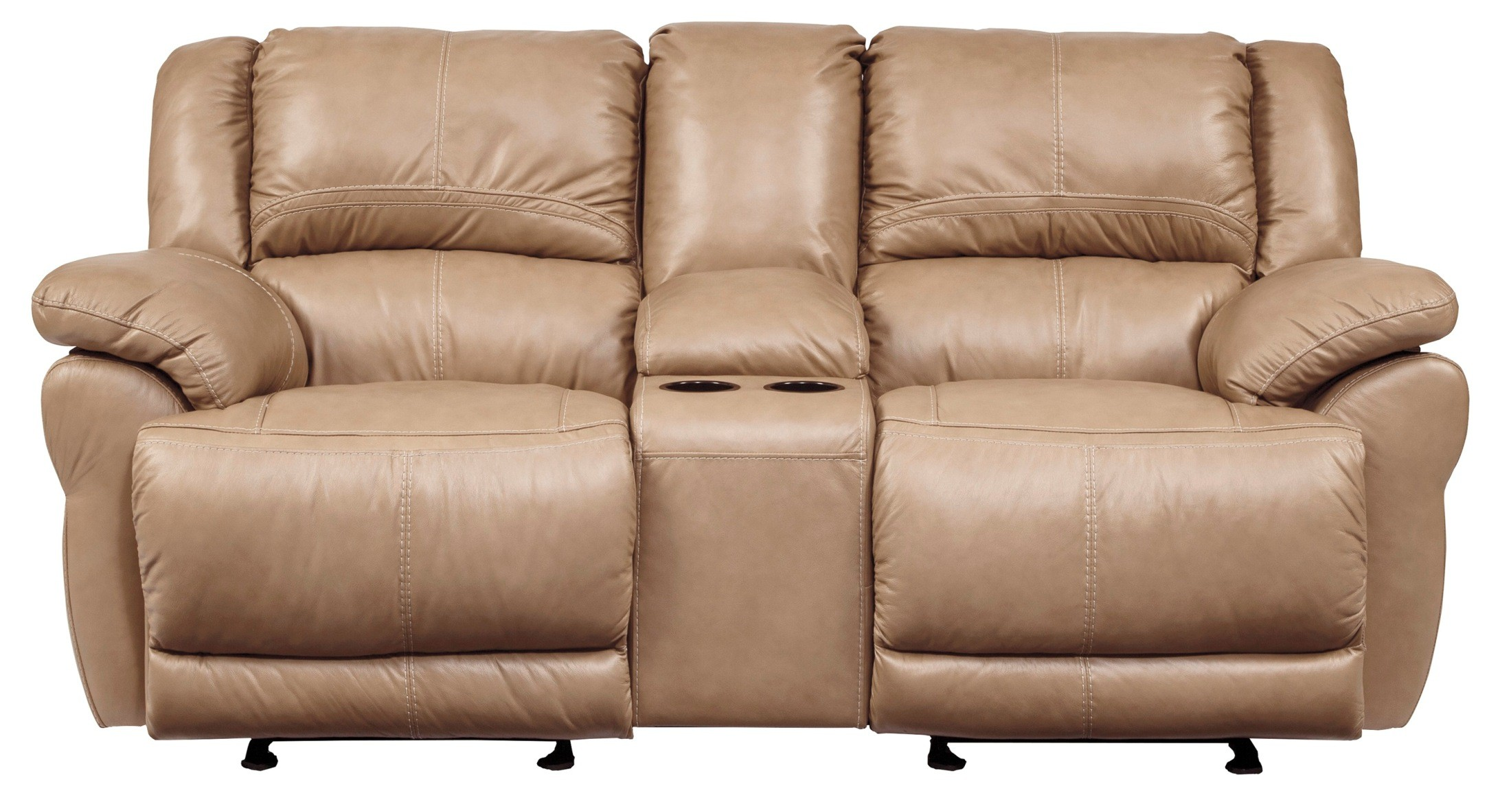 Lenoris Caramel Glider Power Reclining Loveseat With Console U9890491 Ashley Furniture