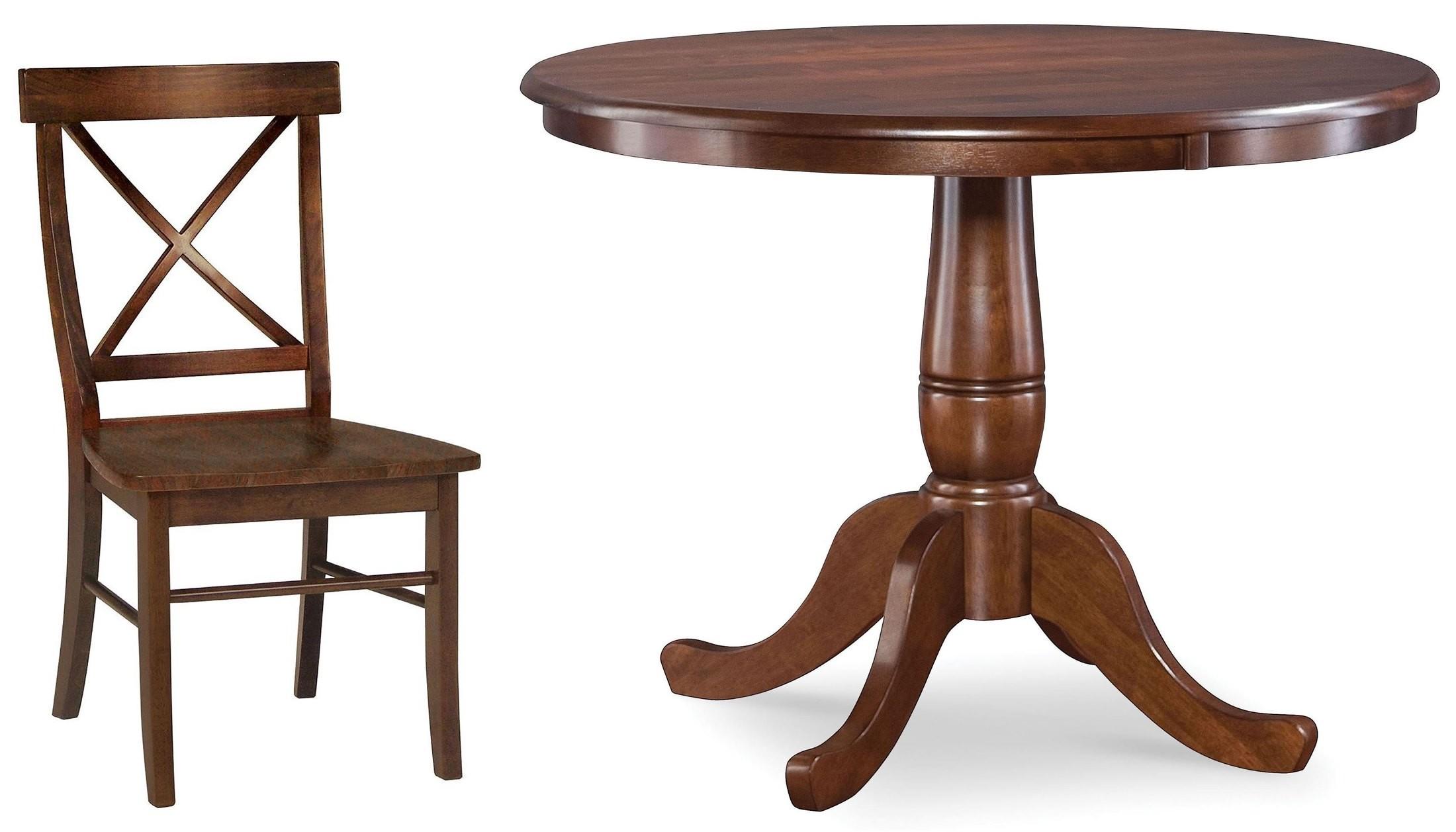 dining essentials espresso 36 round pedestal dining room