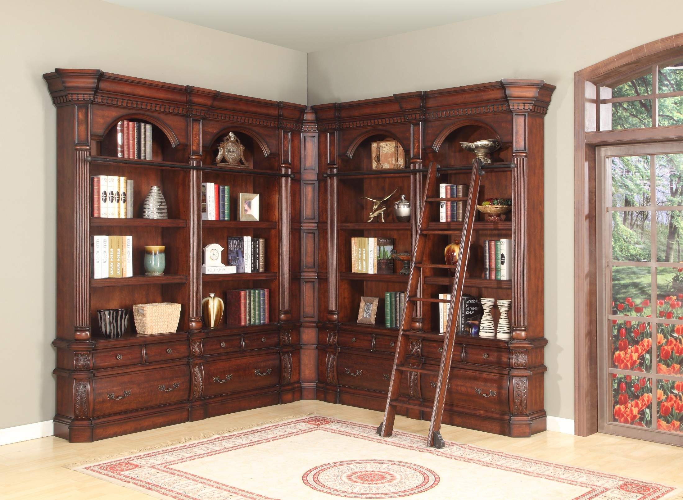Very Impressive portraiture of Versailles L Shape 4pc Long Bookcase from Parker House (VER 9030(4  with #A32E28 color and 2200x1610 pixels