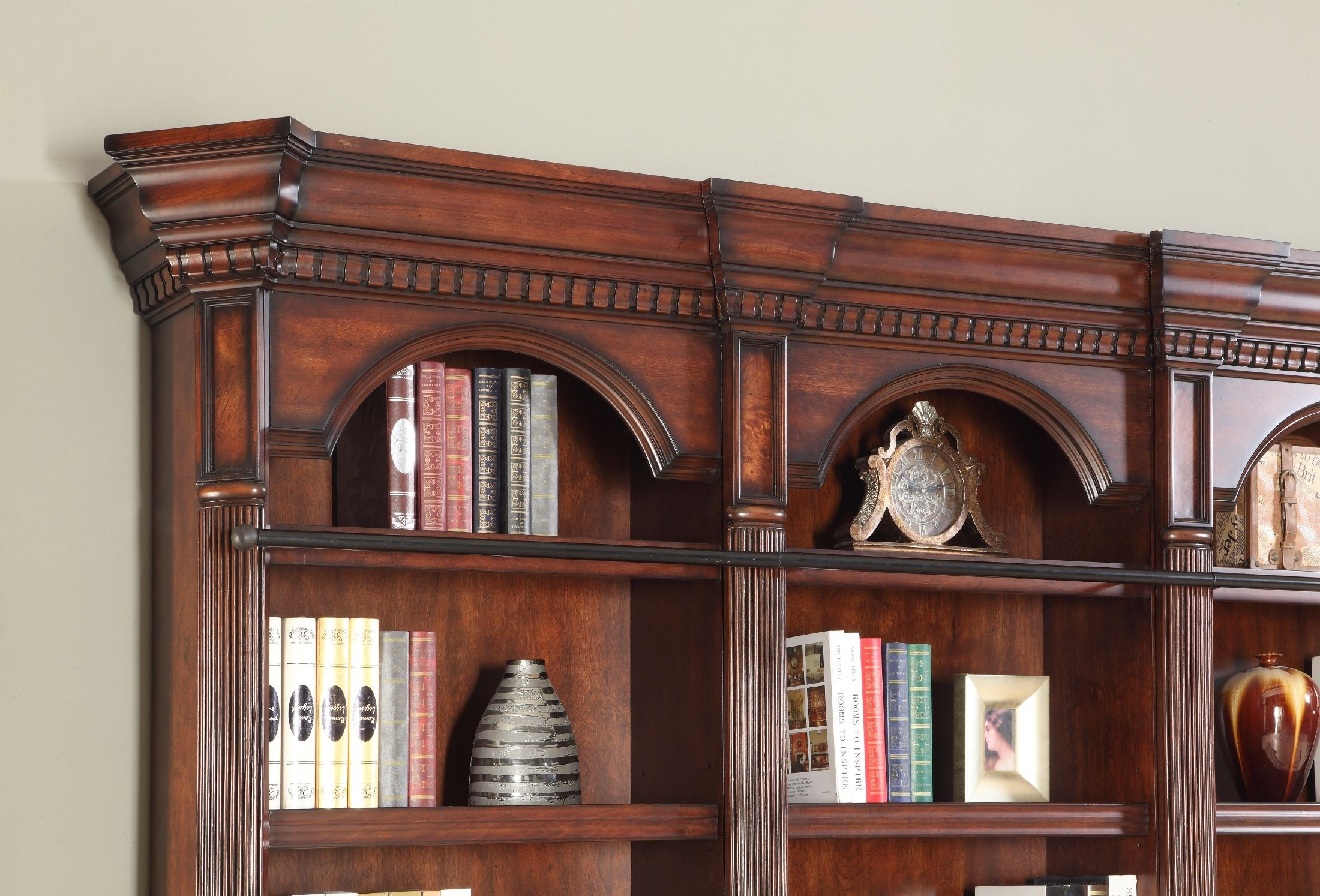 Versailles Small L Shape Bookcase From Parker House (VER 9030(2) 9056 . Full resolution‎  image, nominally Width 2200 Height 1494 pixels, image with #975C34.