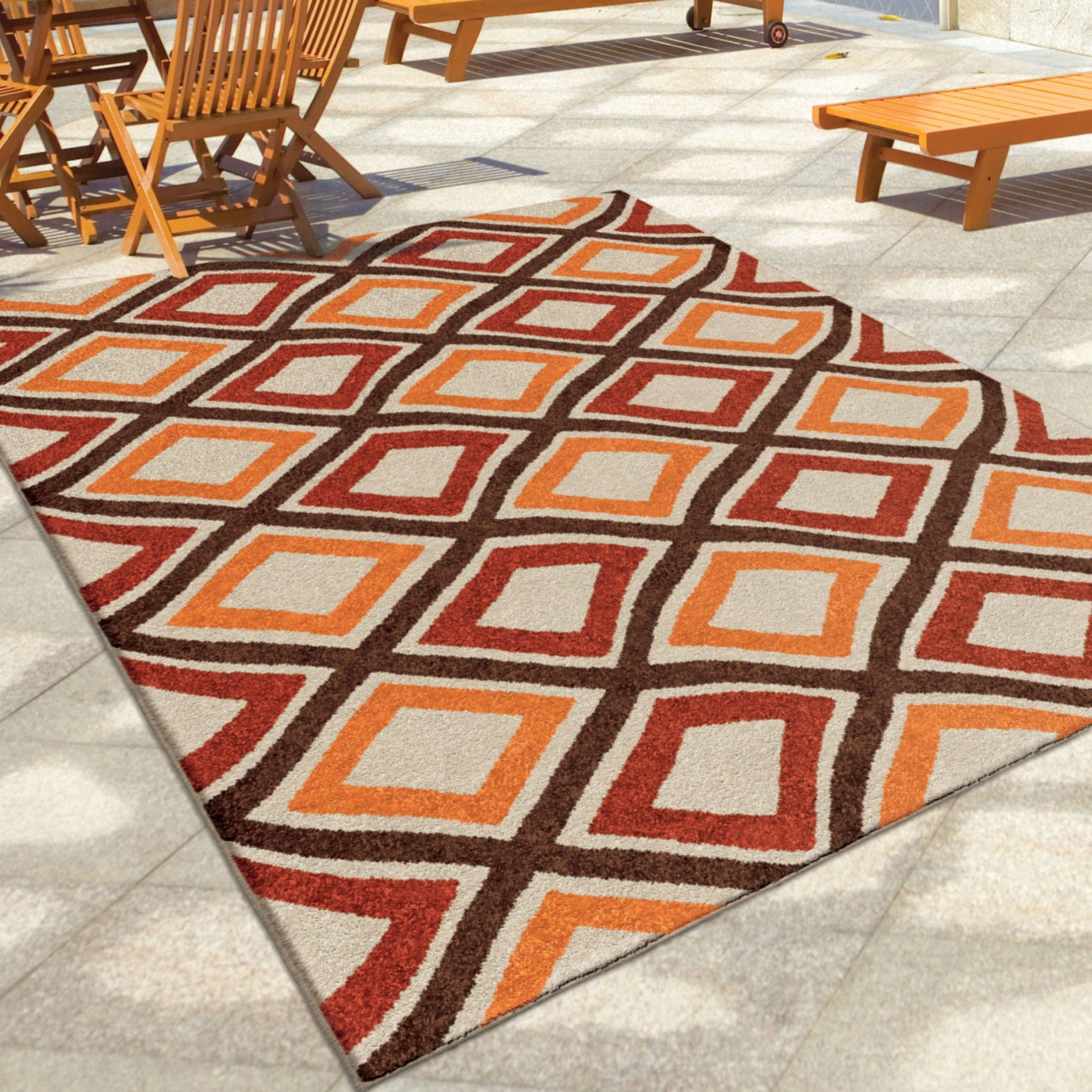 Outdoor 5x8 Area Rug: Orian Rugs Indoor/Outdoor Squares Broad Street Multi Area