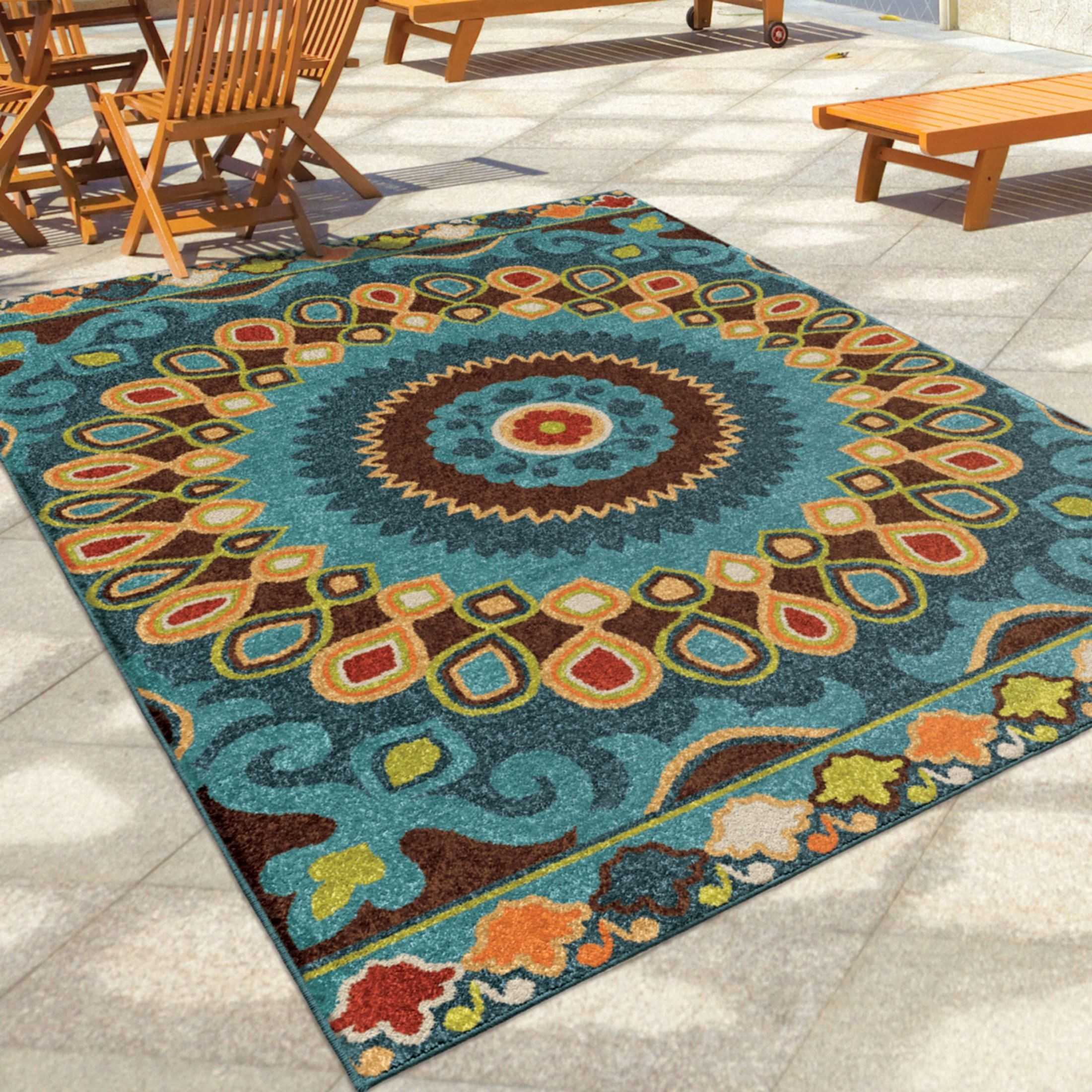 Orian Rugs Indoor Outdoor Shapes Indo China Multi Area