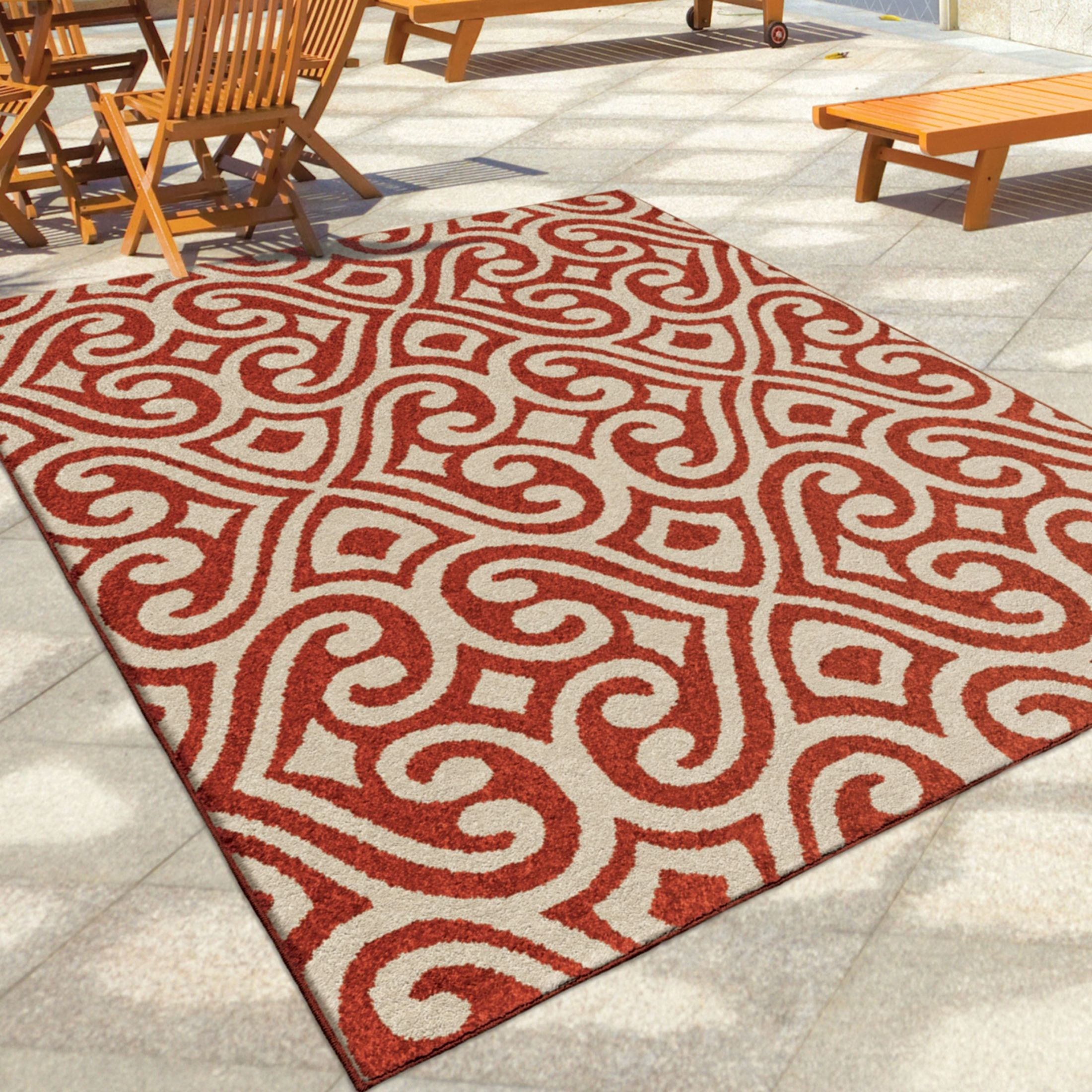 Orian rugs indoor outdoor damask scroll santee red area for Large red area rugs