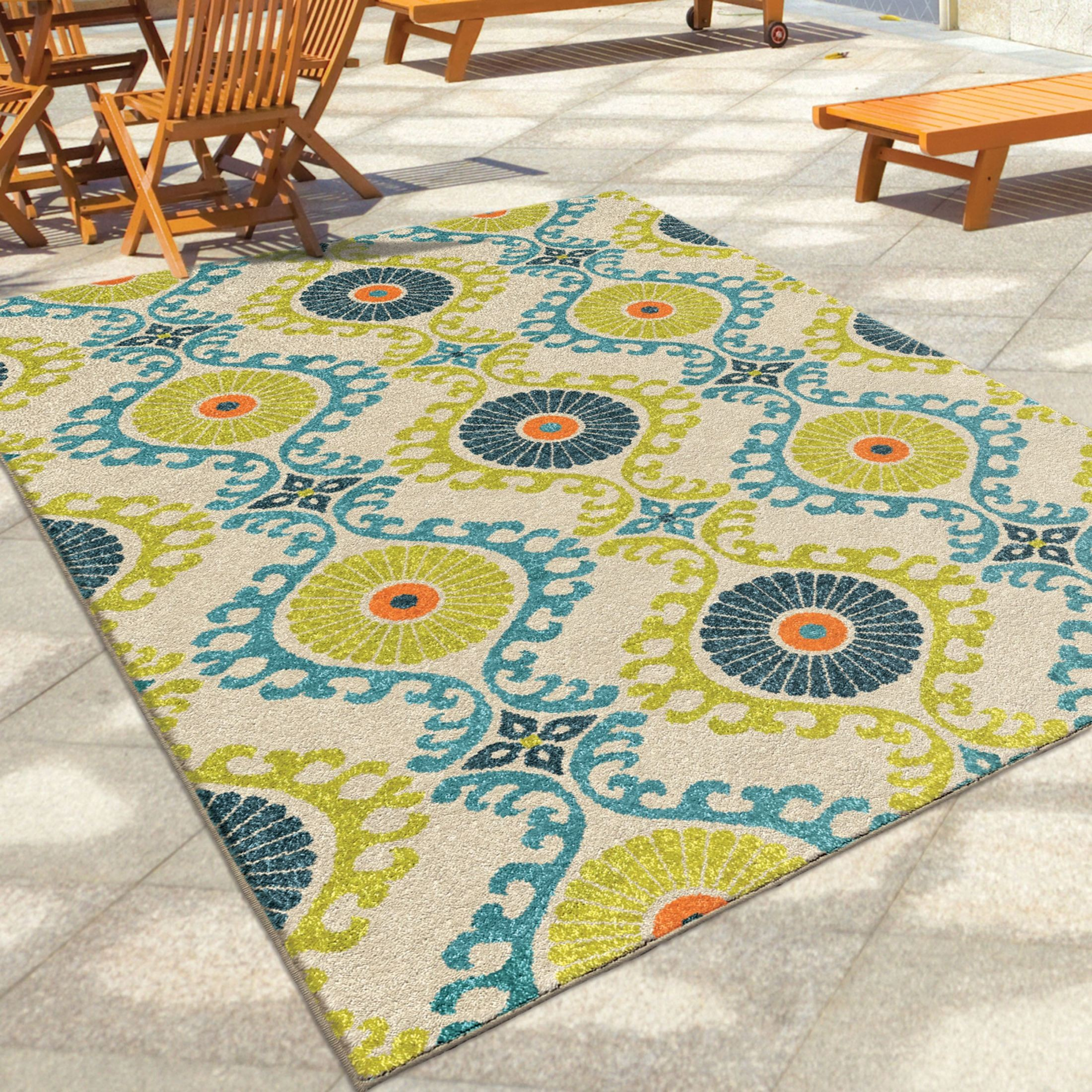 orian rugs indoor outdoor scroll medallion kokand multi