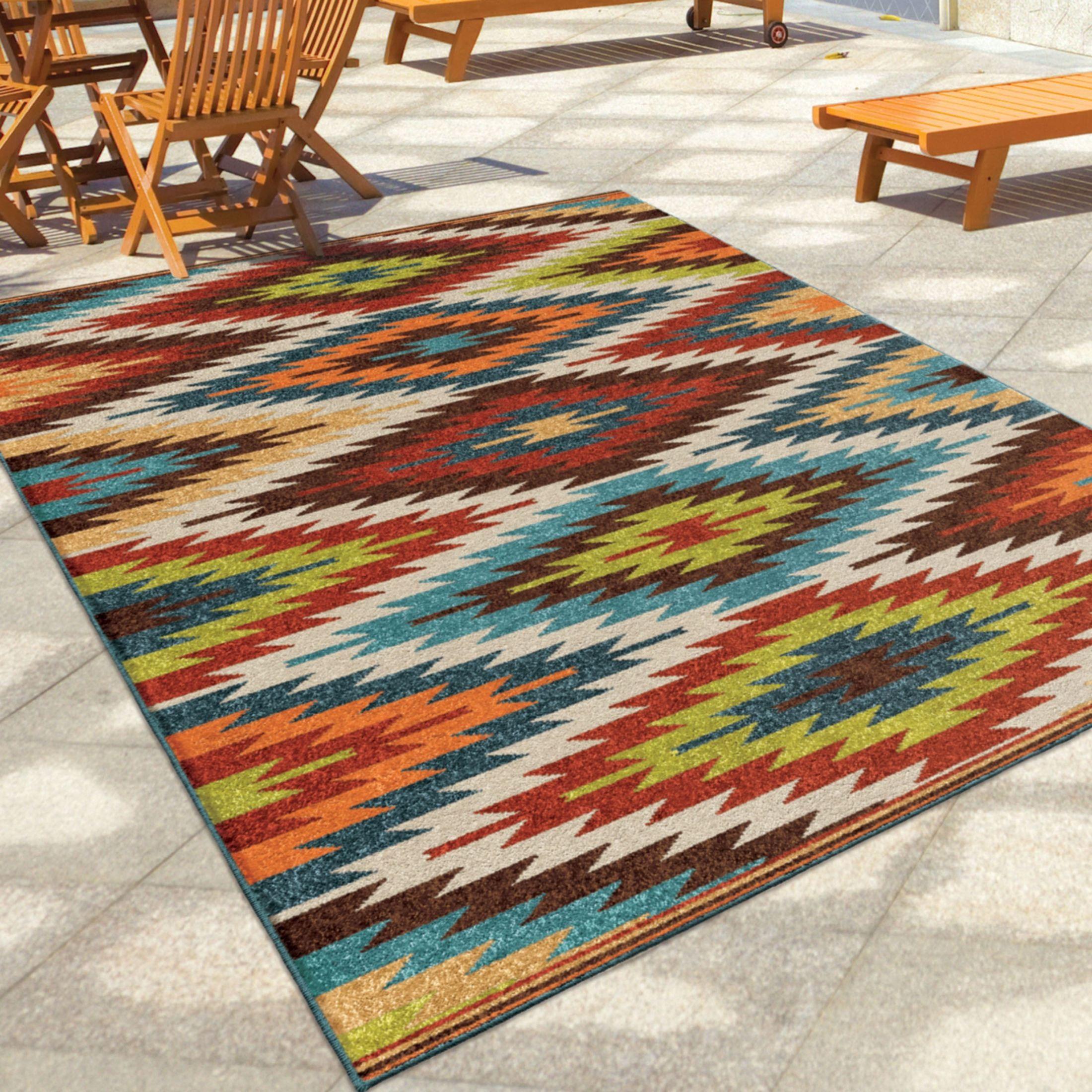 Orian rugs indoor outdoor aztec sedona multi area small for Landscape indoor area rug