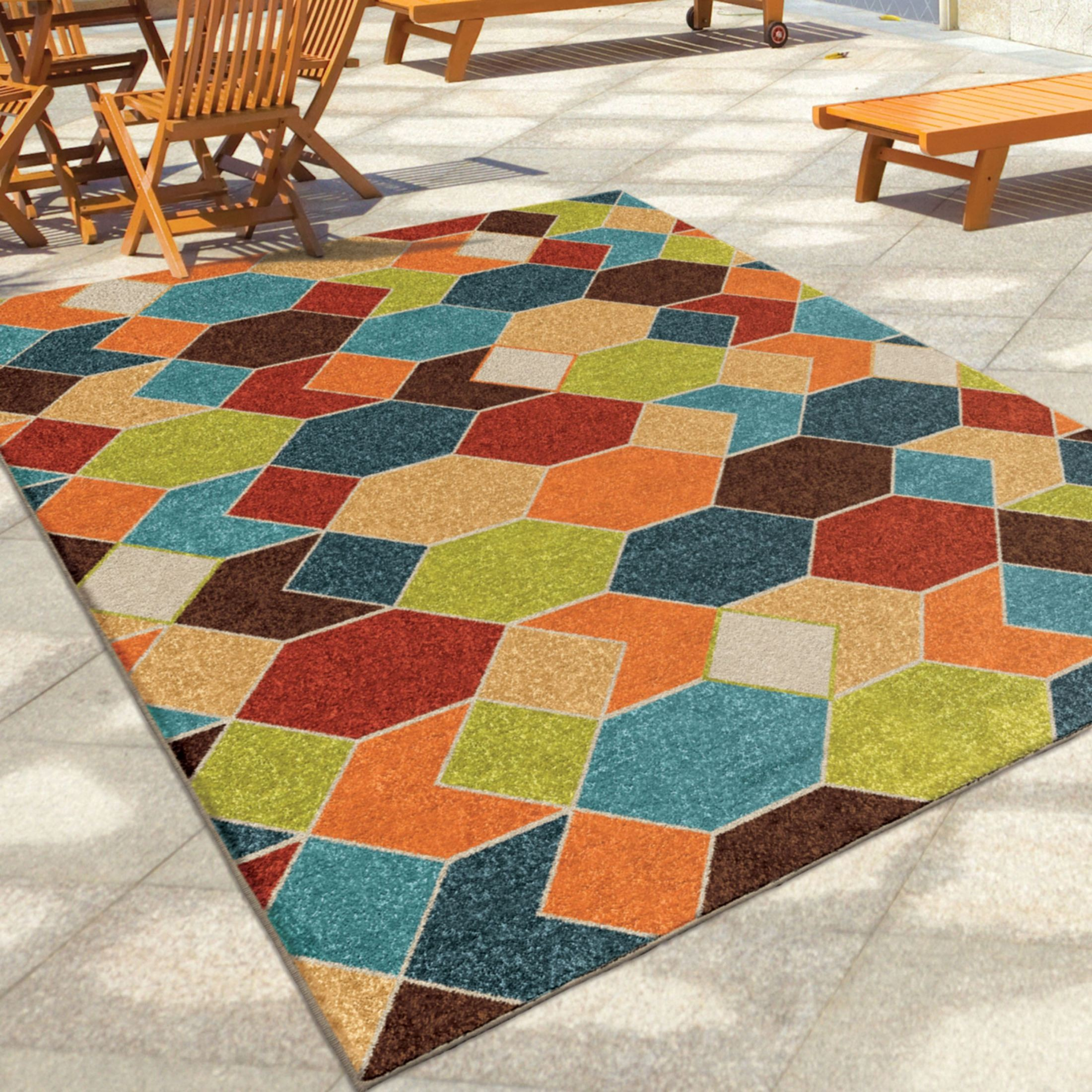 Orian Rugs Indoor Outdoor Diamonds Diamond Struck Multi
