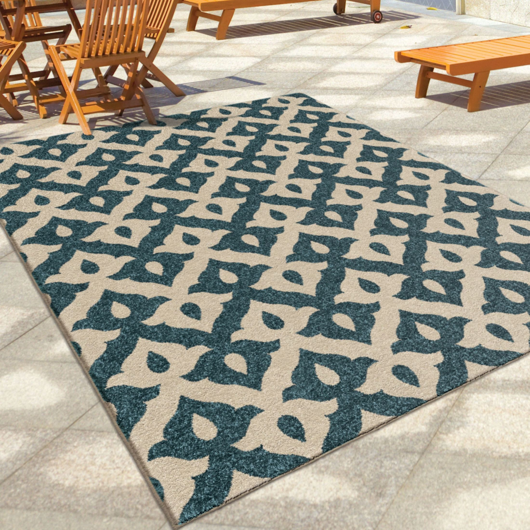 Orian Rugs Indoor Outdoor Shapes Tribal Trellis Blue Area