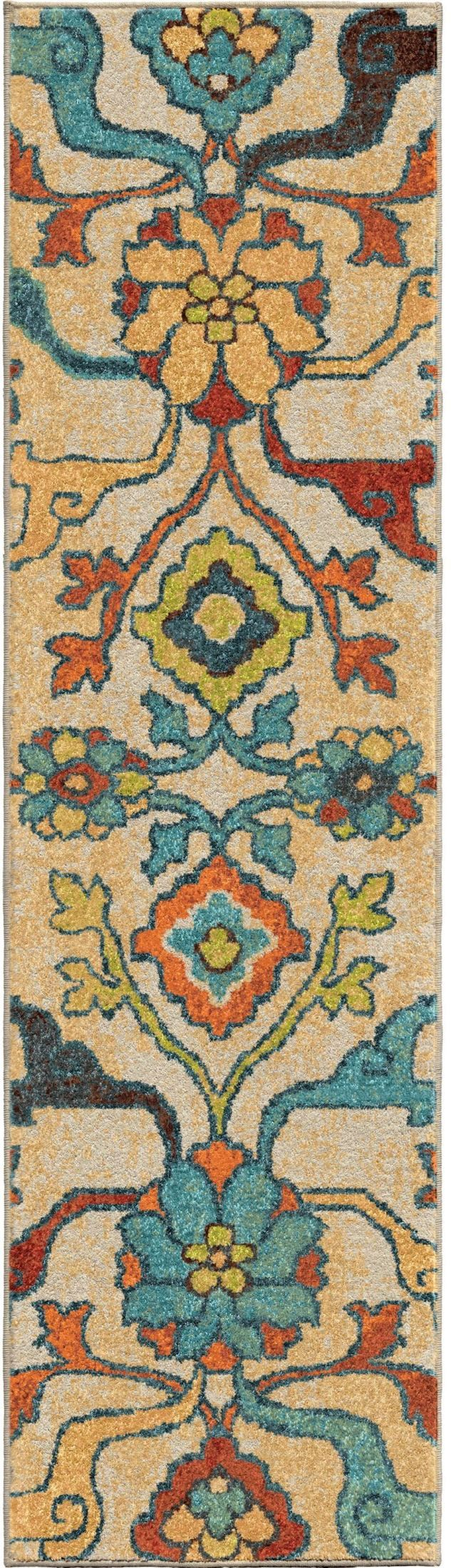 Orian rugs bright color floral tibet multi runner rug for Bright floral area rugs
