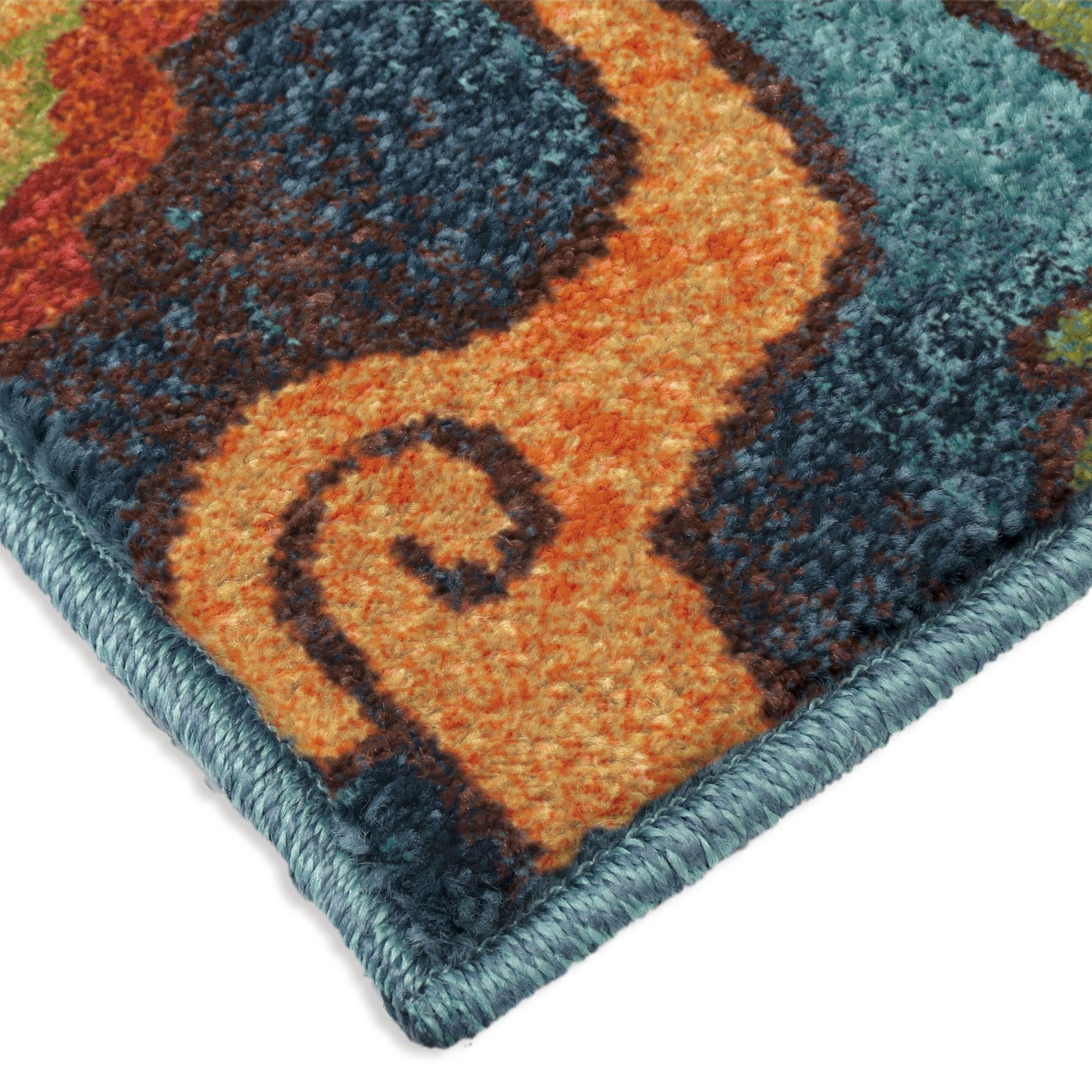 Orian rugs bright color floral tibet blue area small rug for Bright blue area rug
